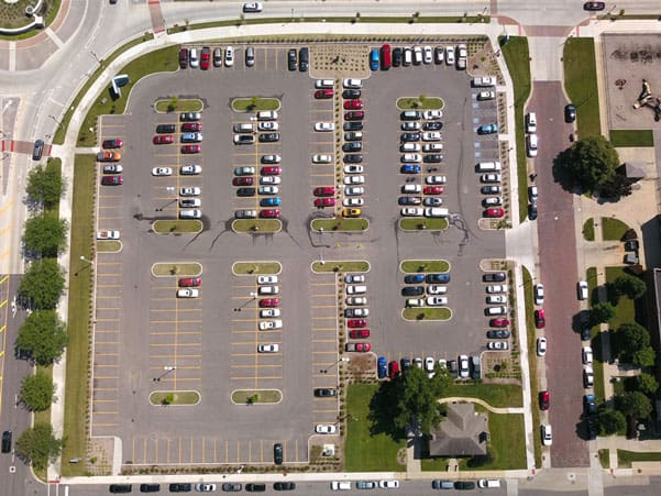 beacon parking lots aerial drone photo