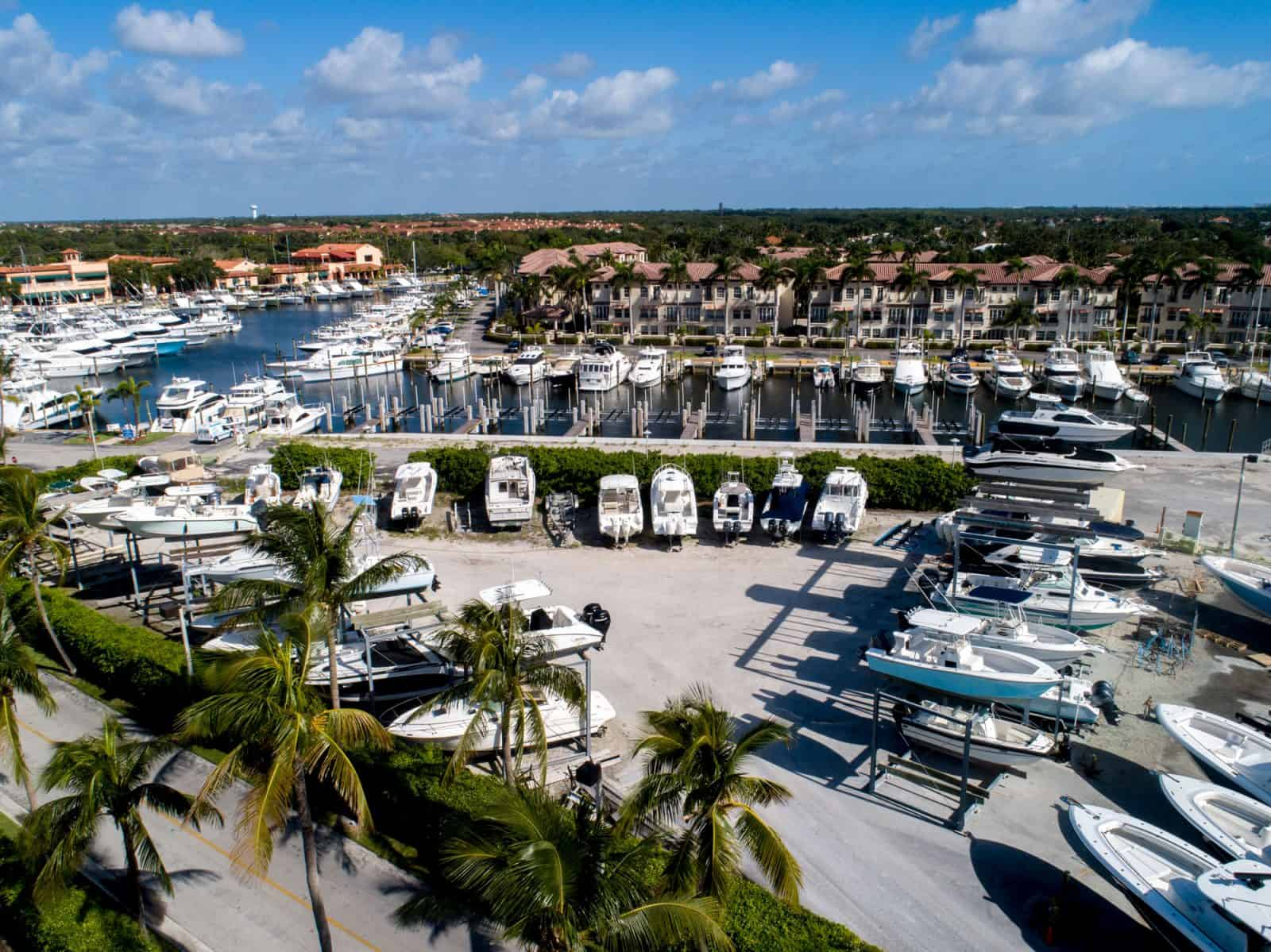 aerial drone photo of marina at Palm Beach Gardens, Florida