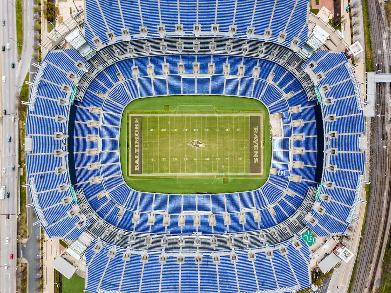 top down drone photo of M&T Bank Stadium in Baltimore, MD