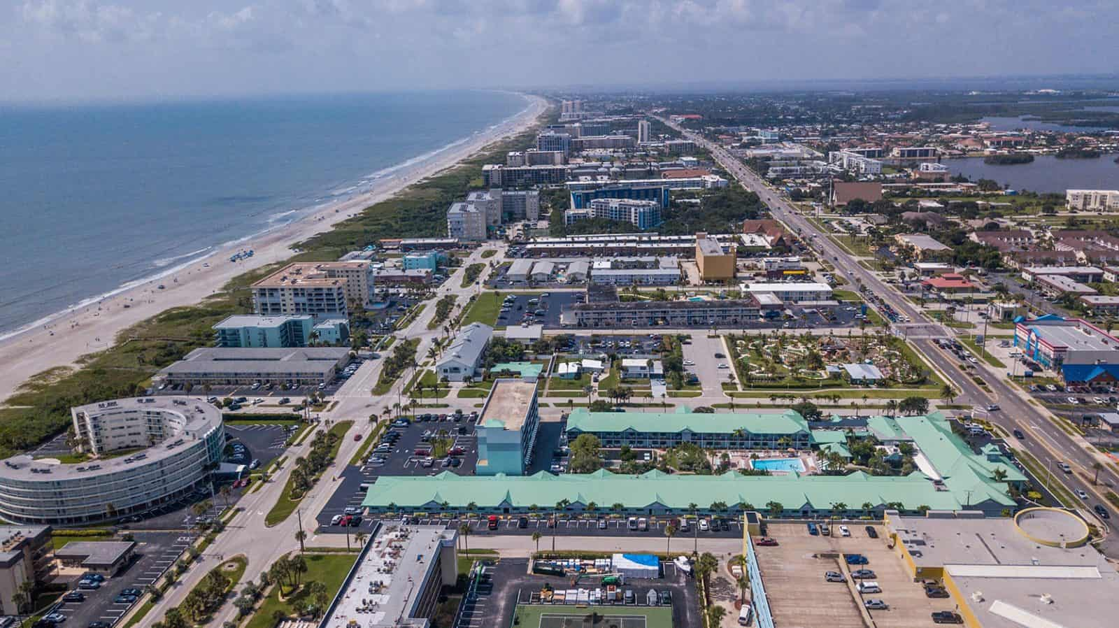 aerial drone photo of Cocoa Beach, Florida