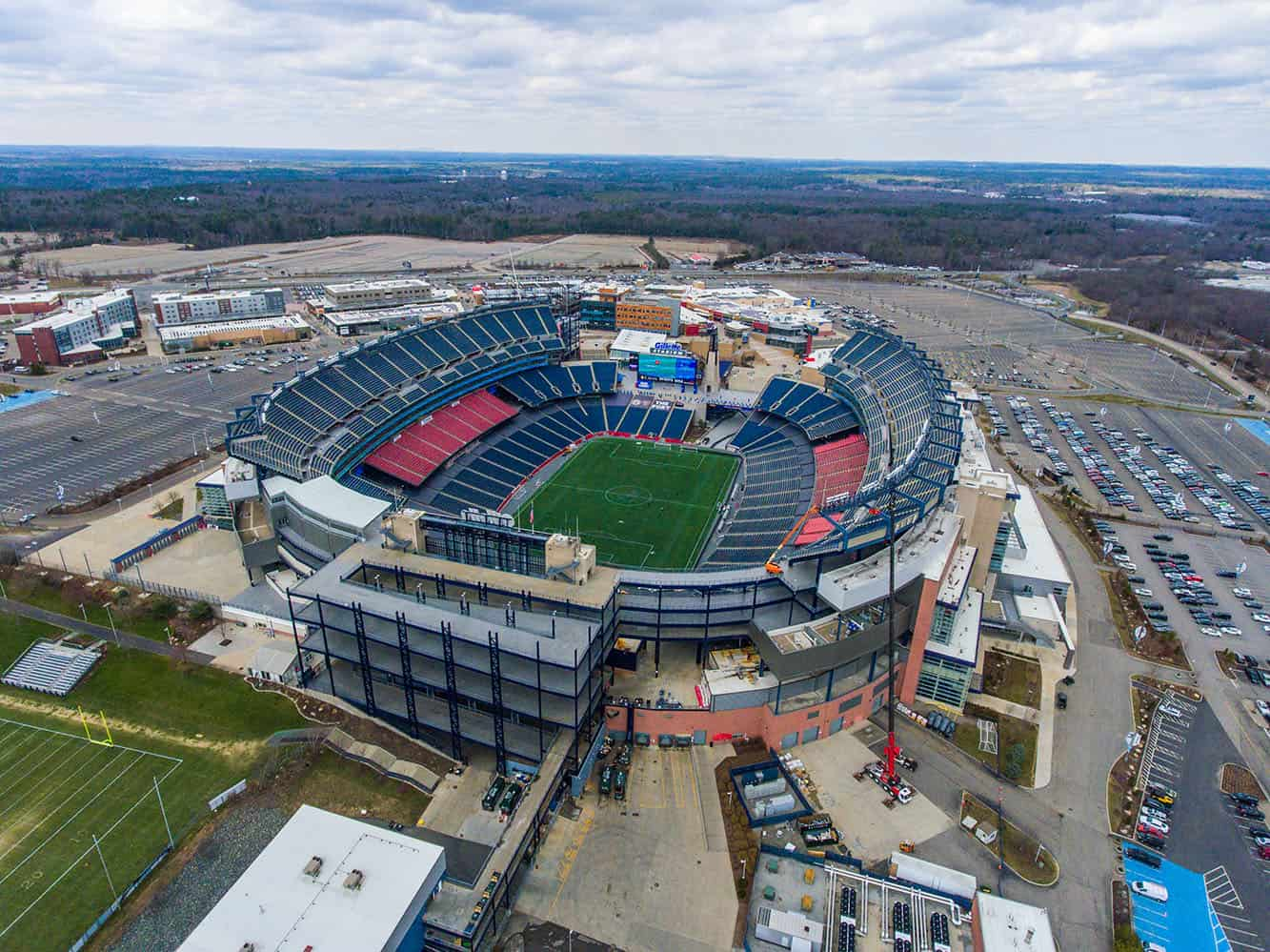 aerial drone photo of Gillette football stadium in Foxborough, MA