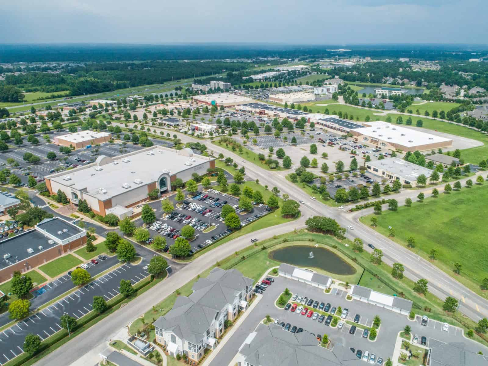 aerial drone photo of commercial strip mall in Montgomery, AL