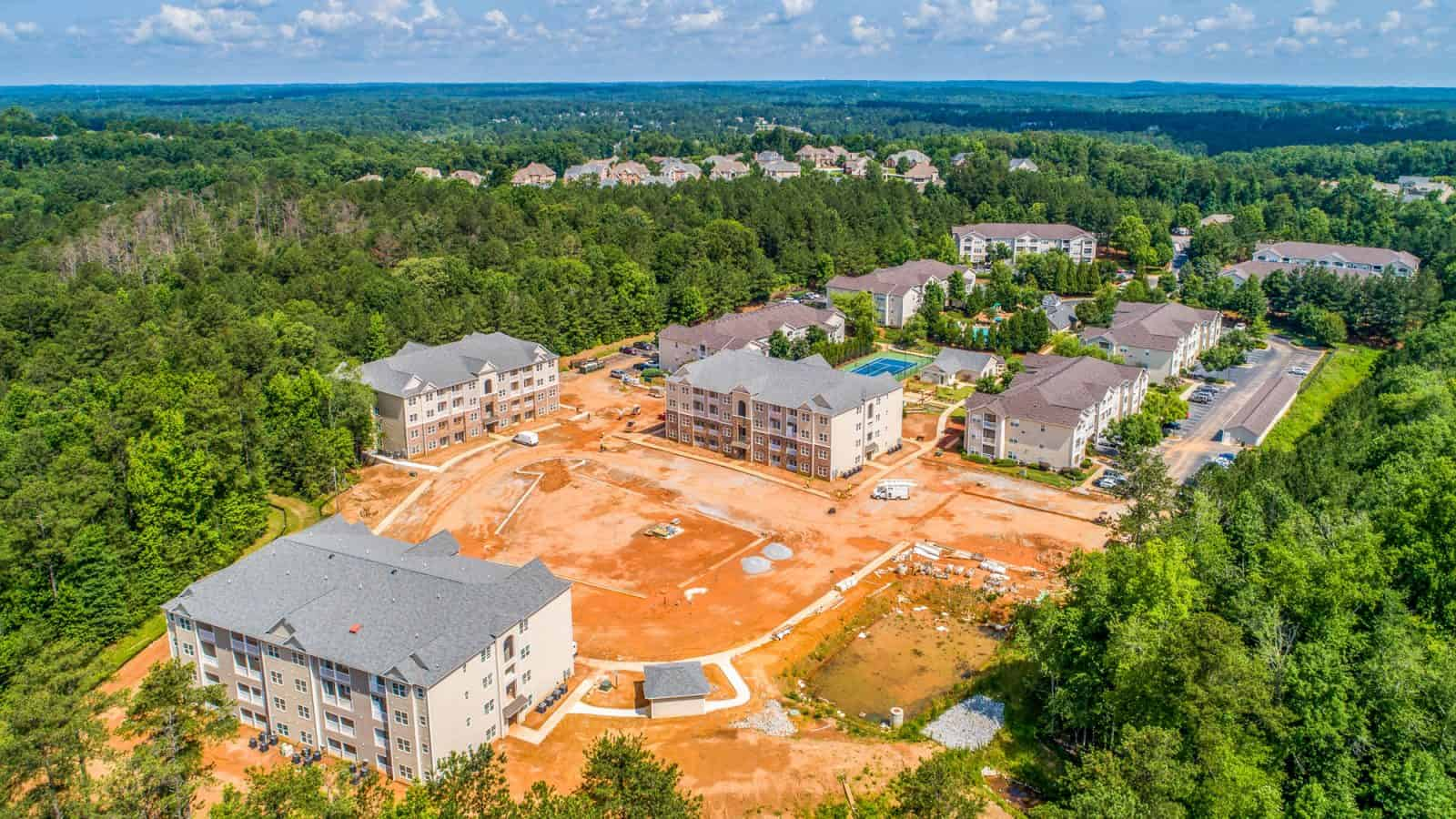 aerial drone photo of apartment complex under construction in Georgia