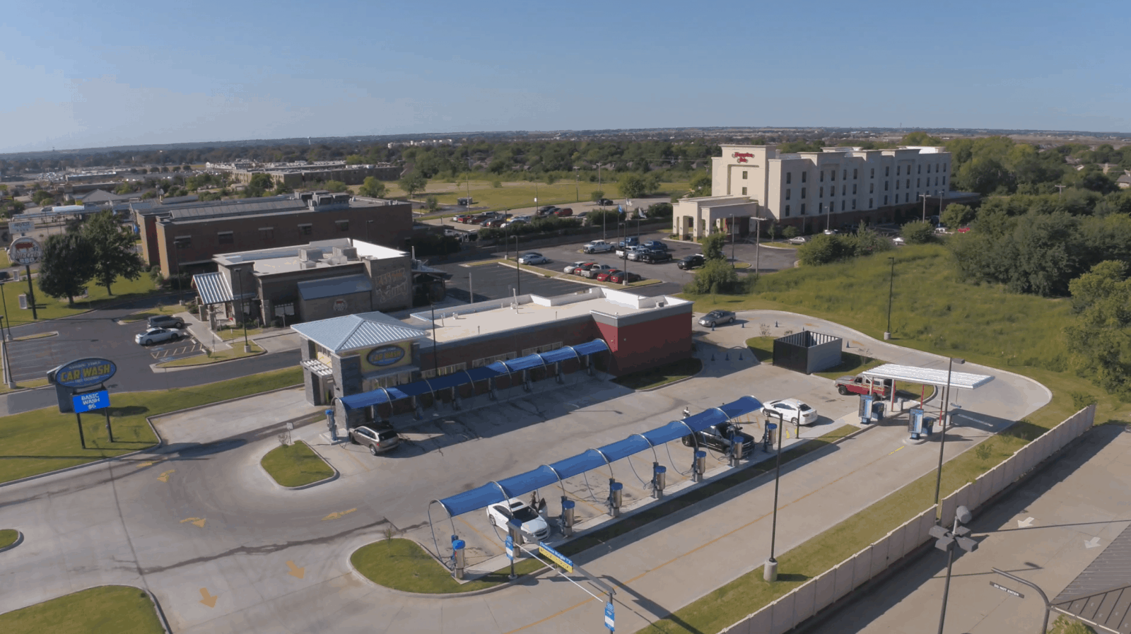 aerial drone photo of car wash facility in Duncan, OK