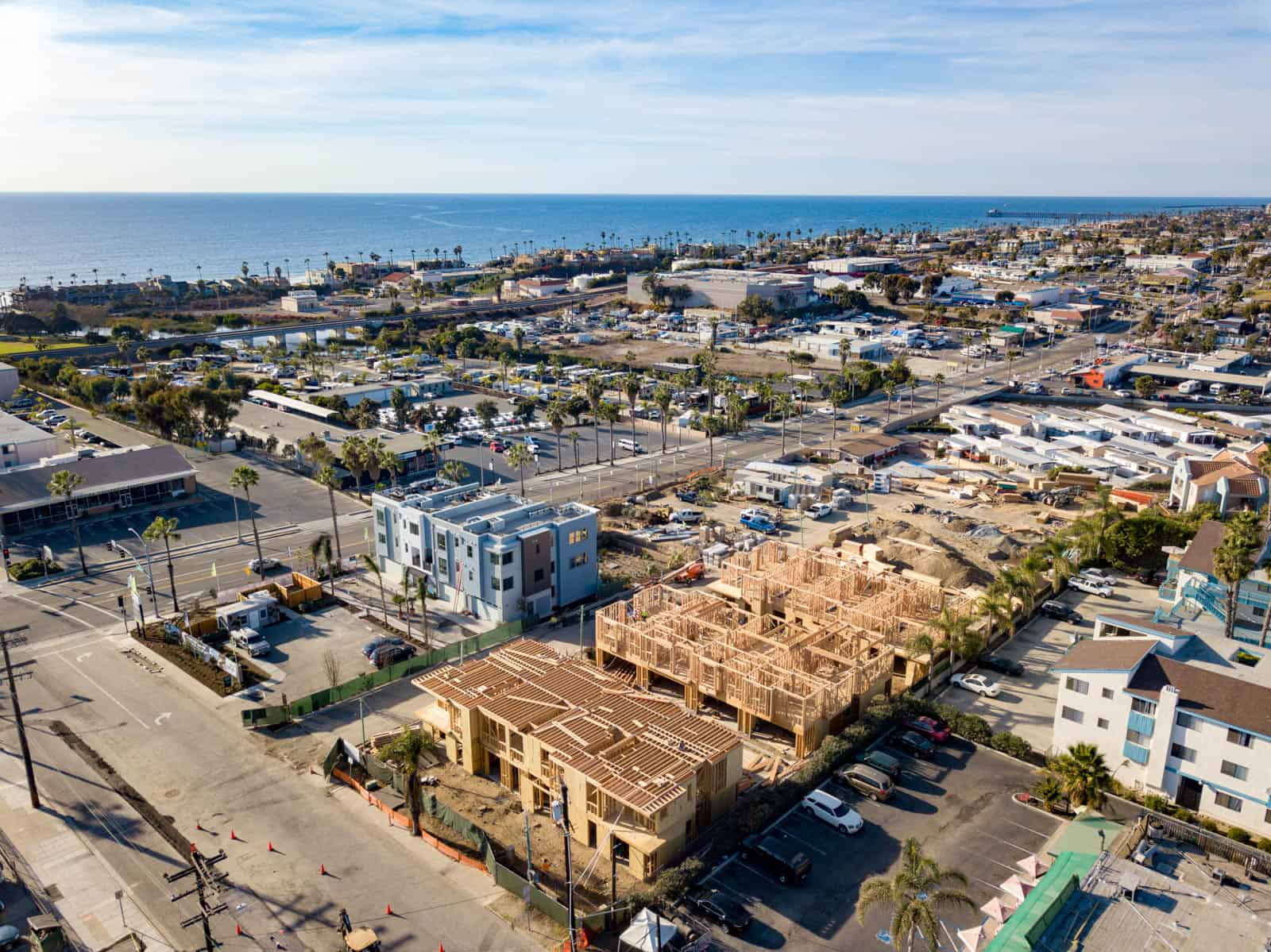 aerial photo of apartment complex under construction