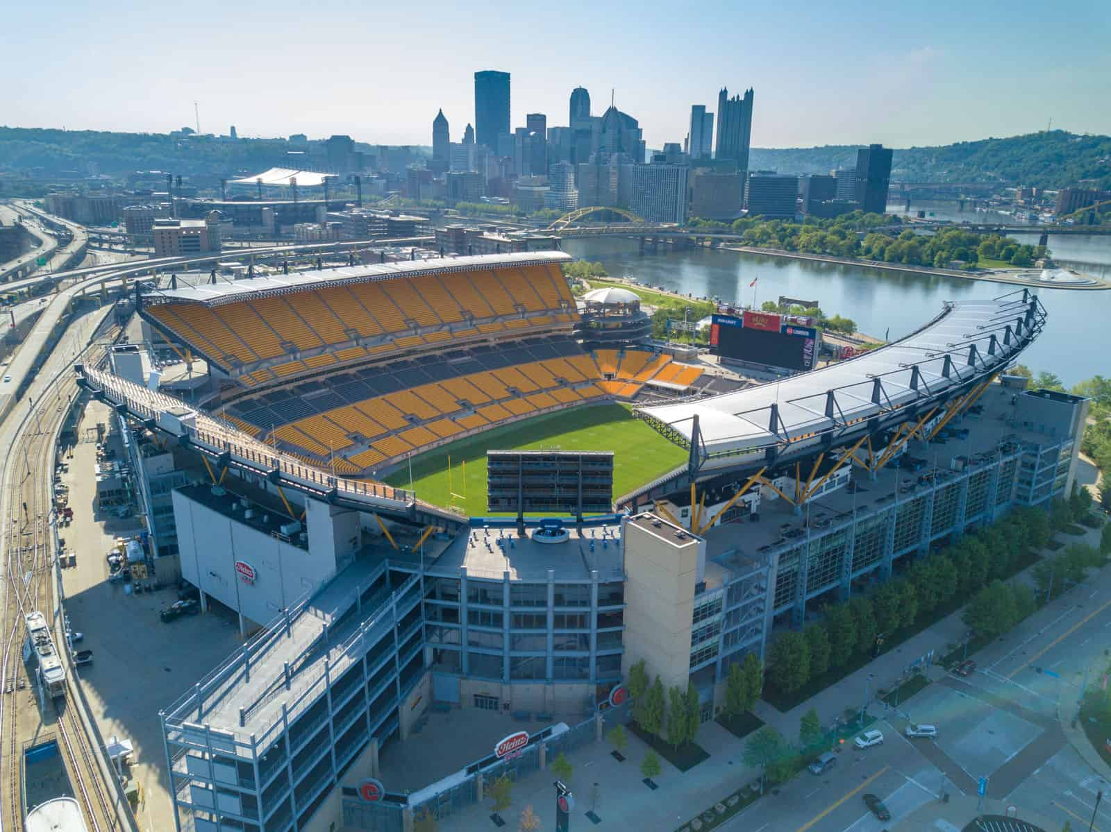Heinz Field aerial drone photo with Pittsburg city in background