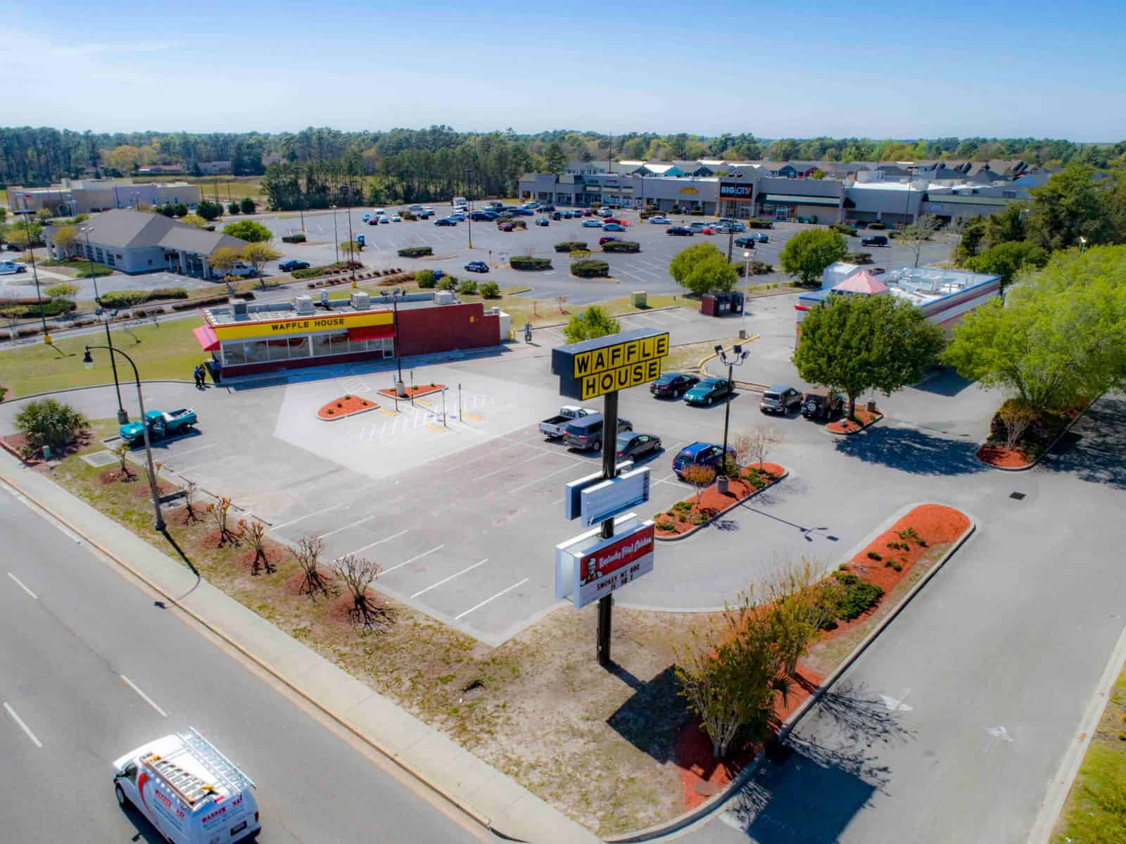 commercial real estate shopping plaza drone photo in South Carolina