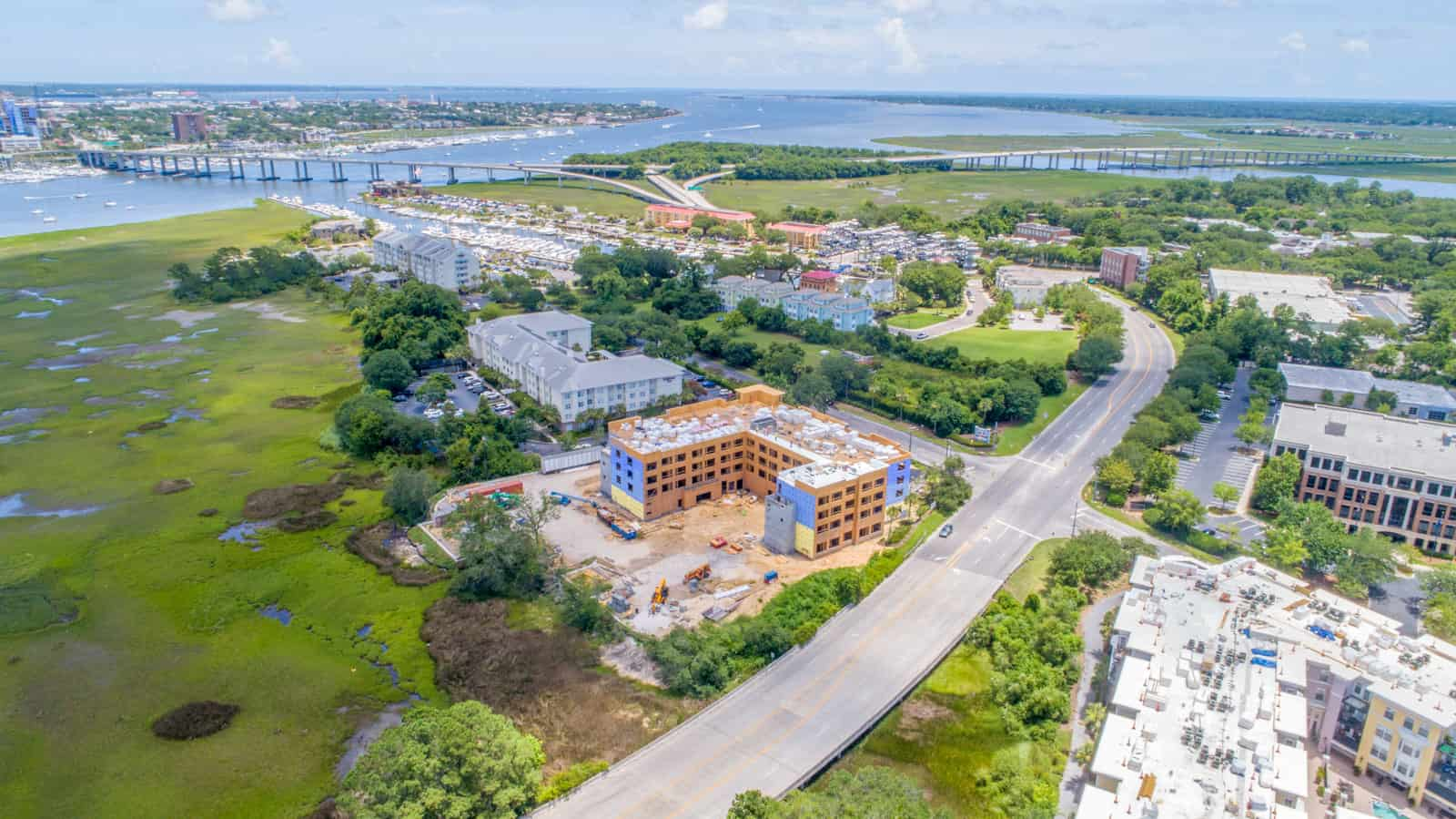 aerial photo of office building being built near coast in South Carolina