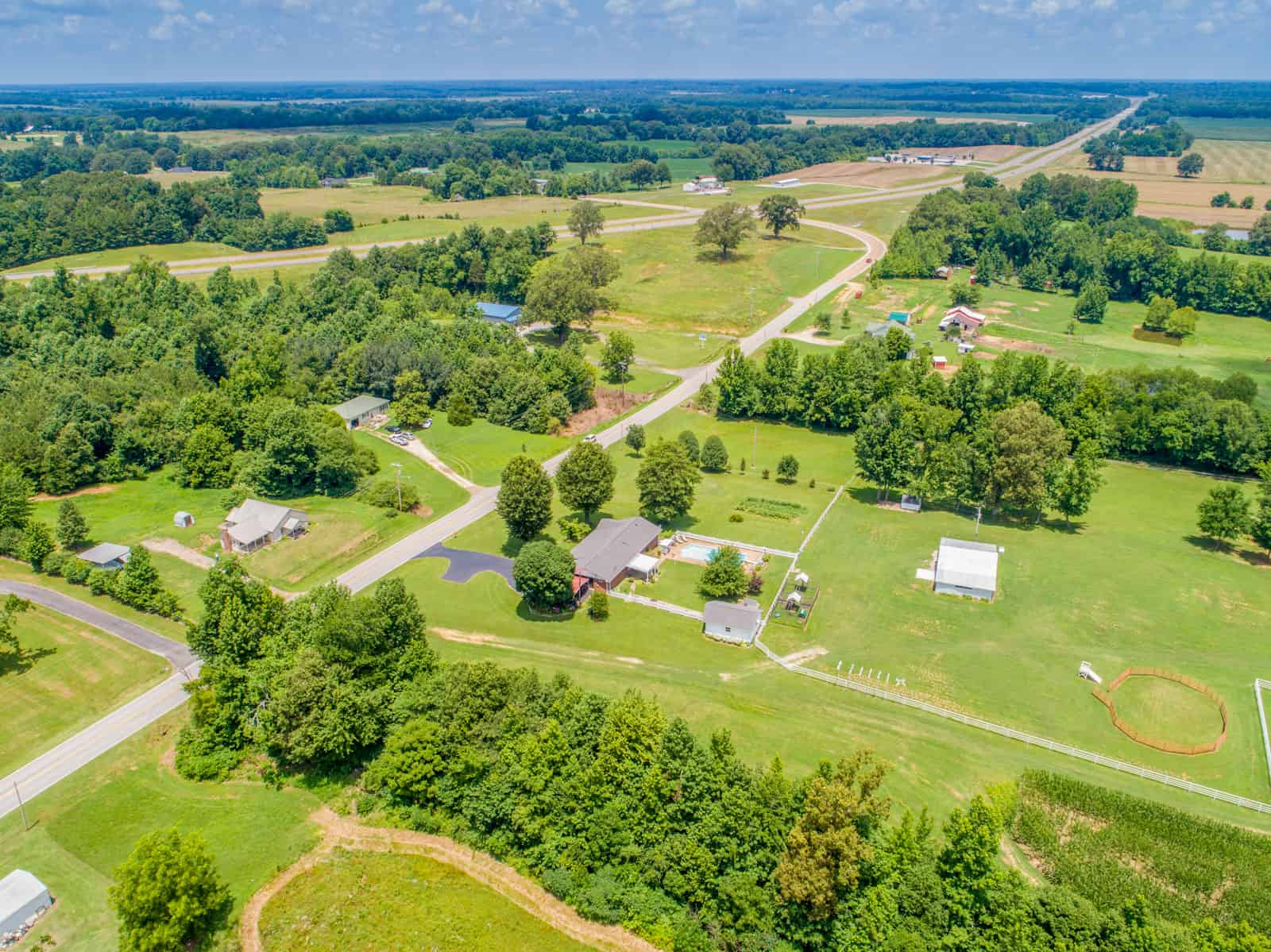high altitude aerial drone photo of residential property in Tennessee