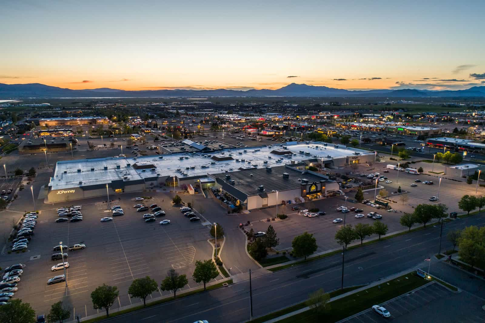 commercial real estate aerial drone photo at dusk in Utah
