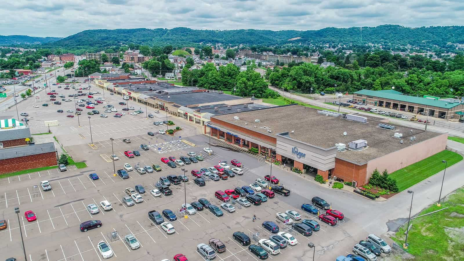 drone photo of shopping center in West Virginia