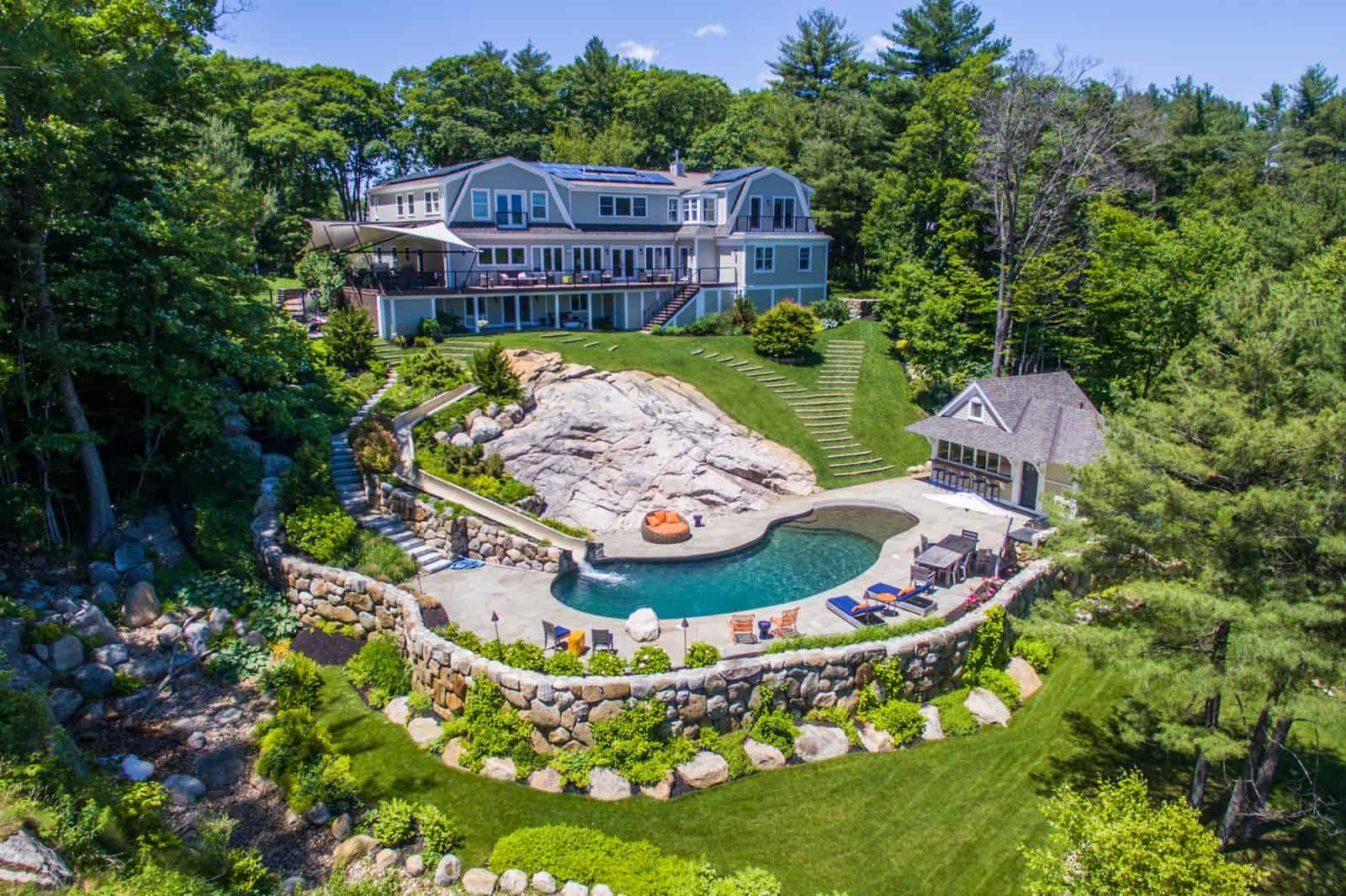 aerial drone photo of residential property in Massachusetts