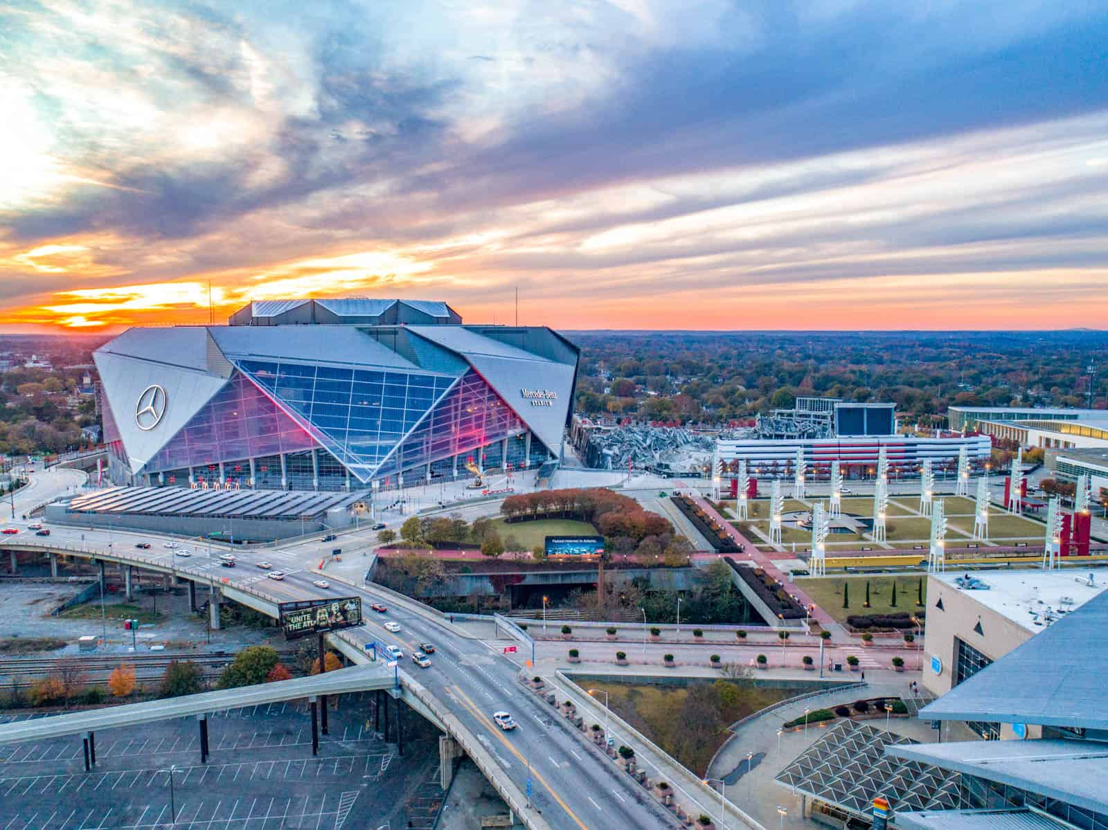 aerial drone photo of Mercedes-Benz Stadium at sunset