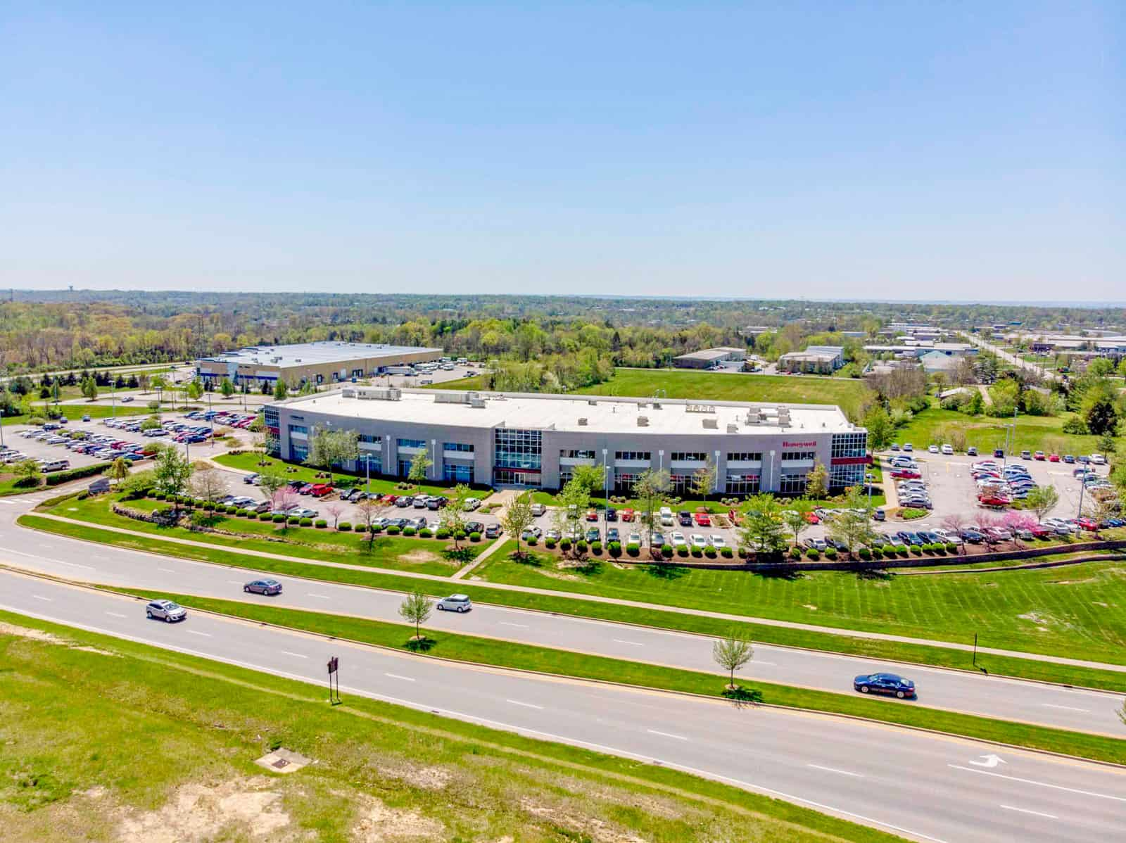 Honeywell office building drone photo in Kentucky