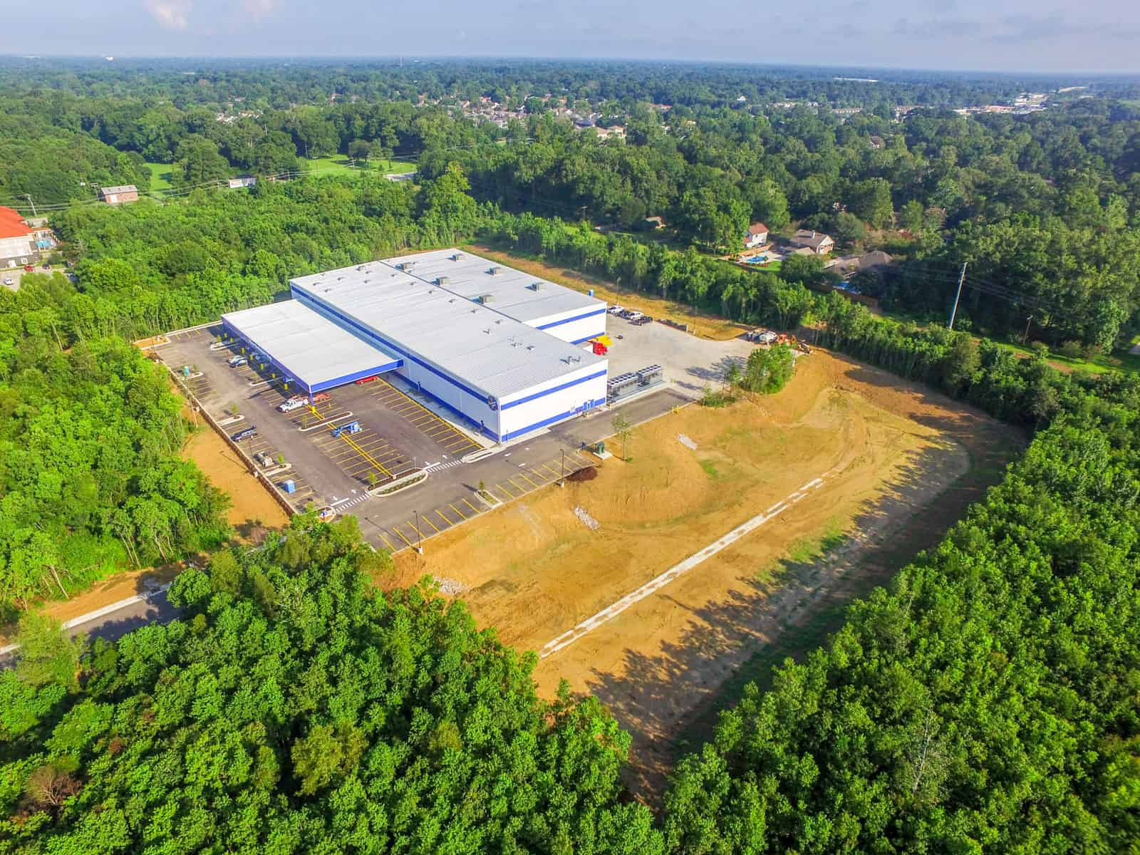 shipping facility aerial drone photo in Louisiana