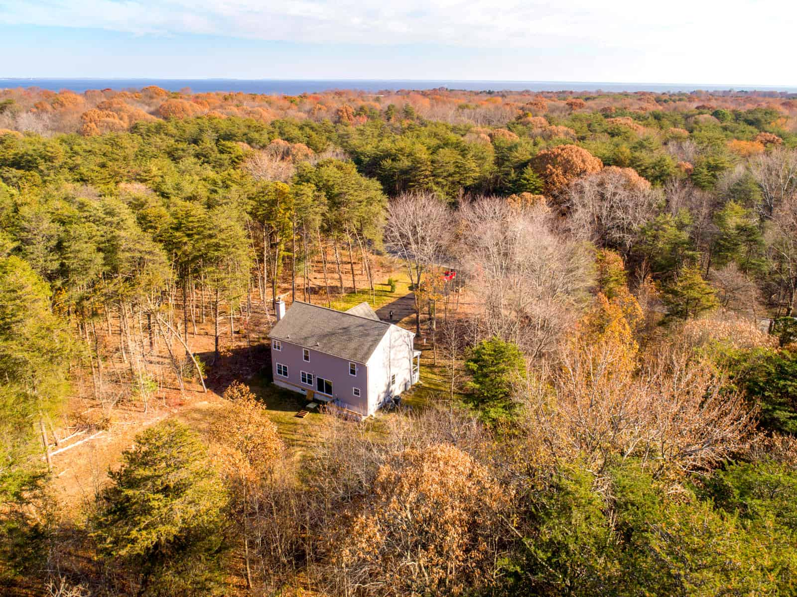 high altitude aerial overview photo of house in Maryland