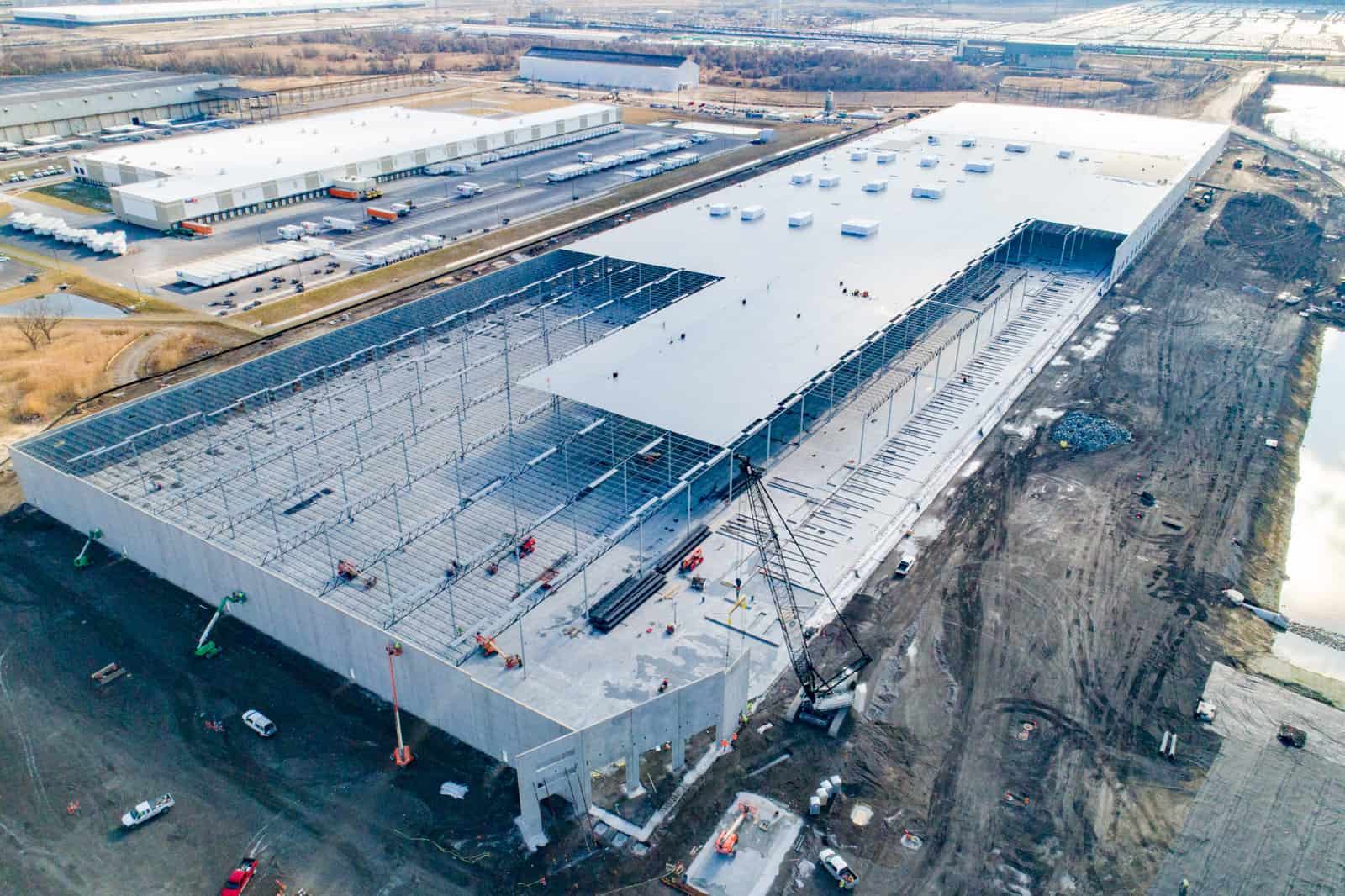 high altitude aerial drone photo of massive commercial shipping facility being built in Maryland