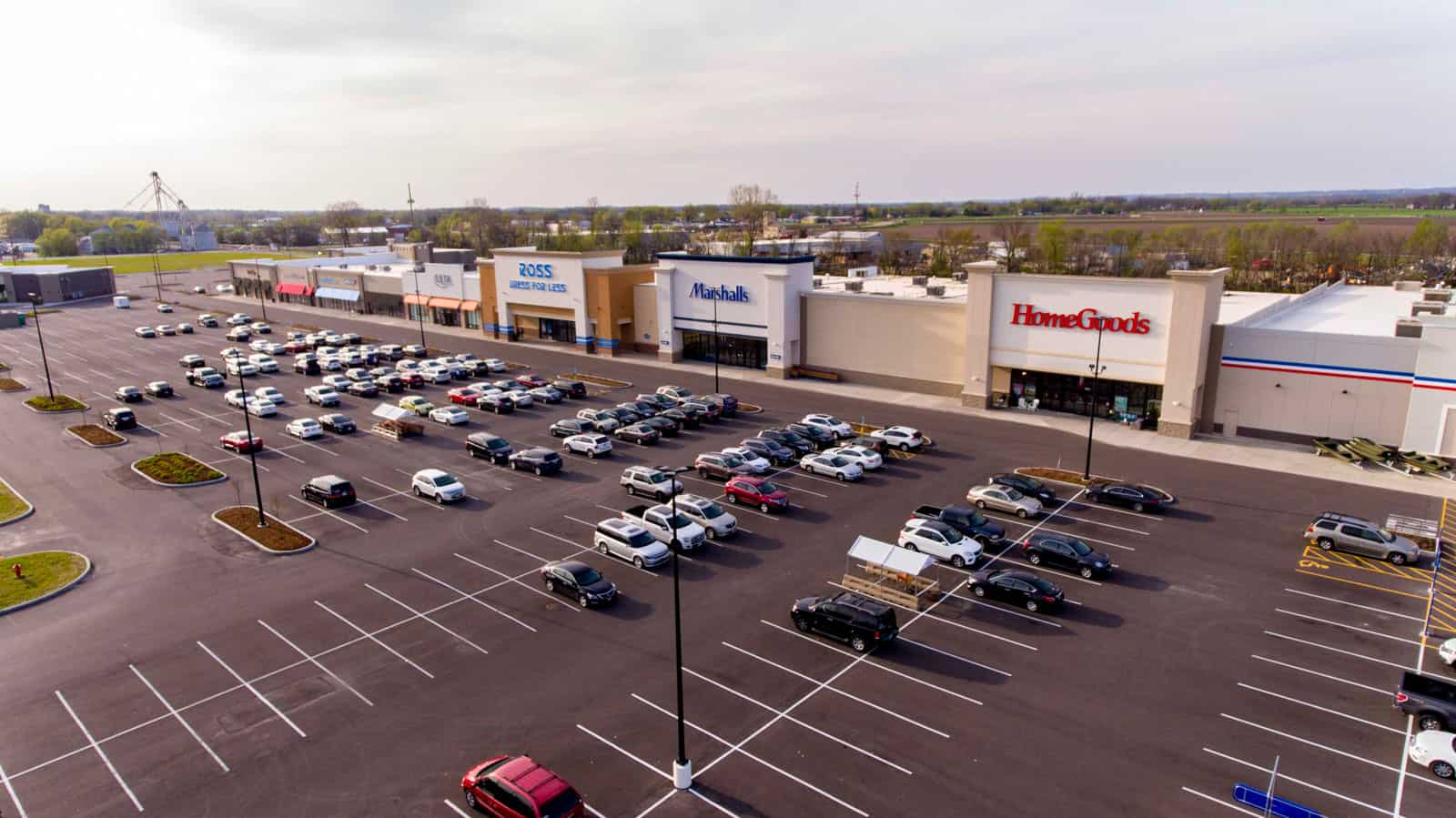 drone photo of strip mall in Missouri