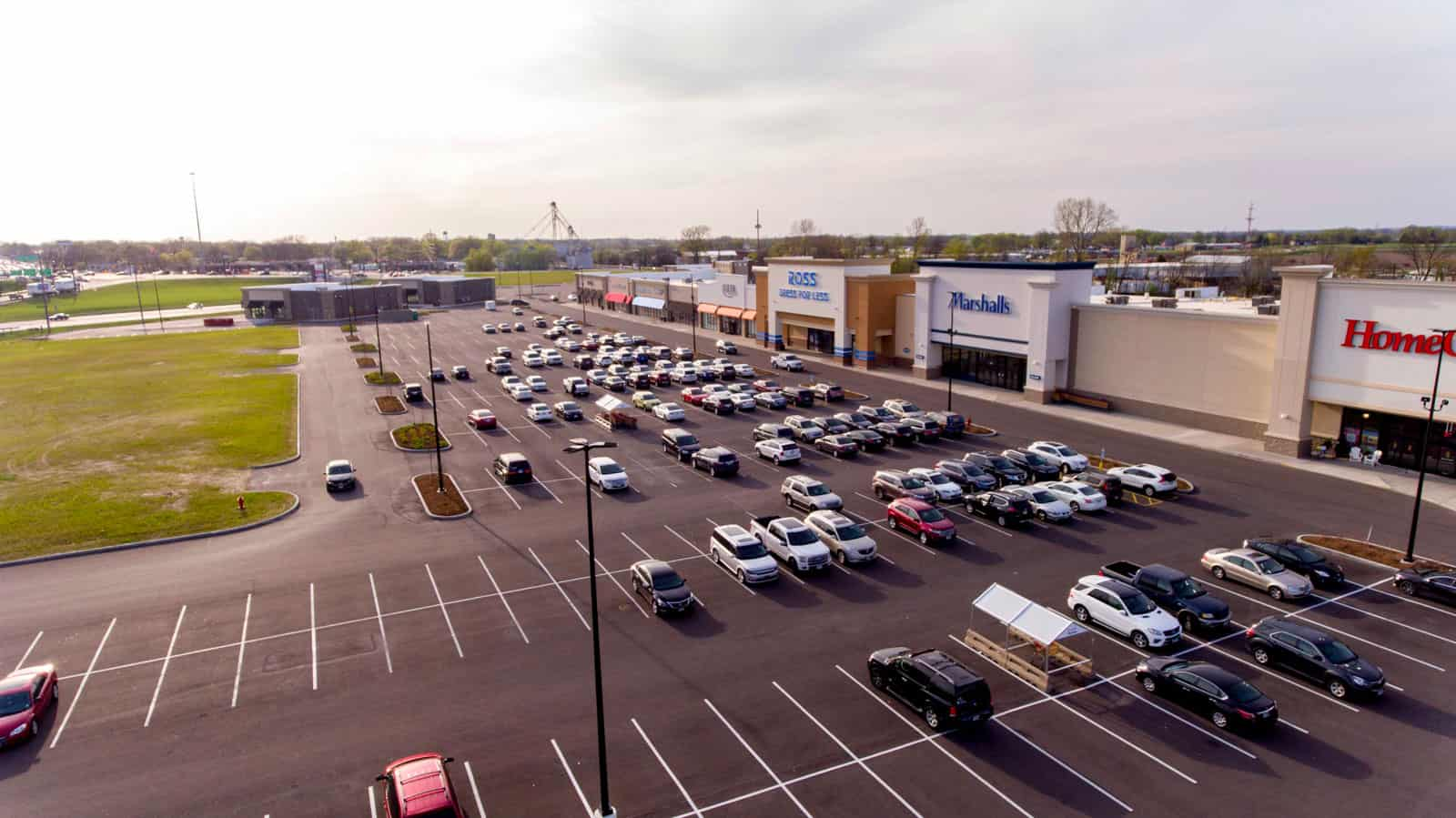commercial real estate shopping plaza aerial photo in Missouri