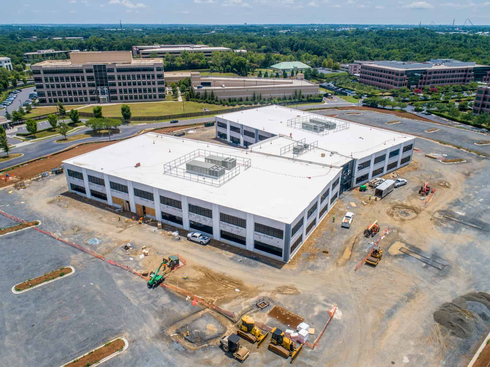drone photo of construction project in North Carolina with completed buildings
