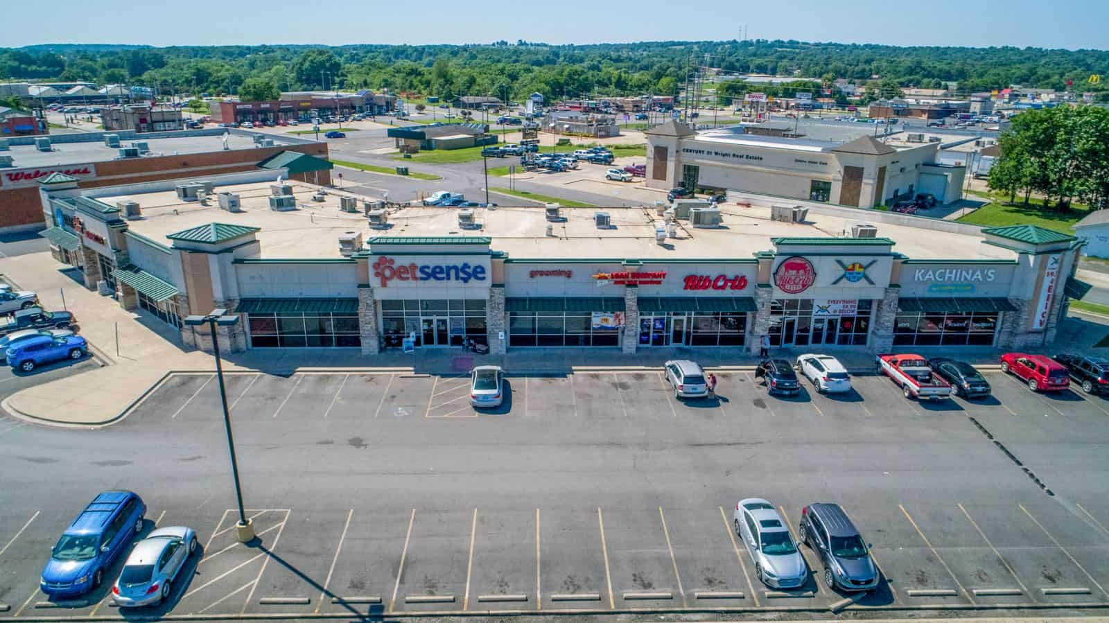 drone photo of shopping plaza in Ohio
