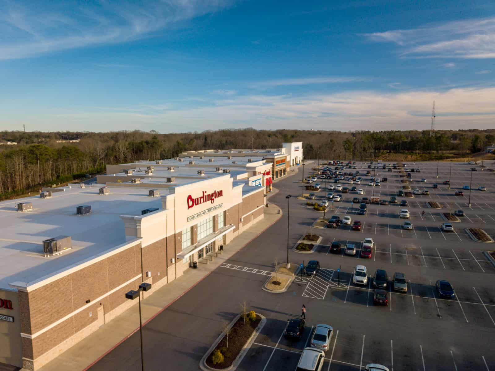 aerial drone photo of shopping center located in Georgia