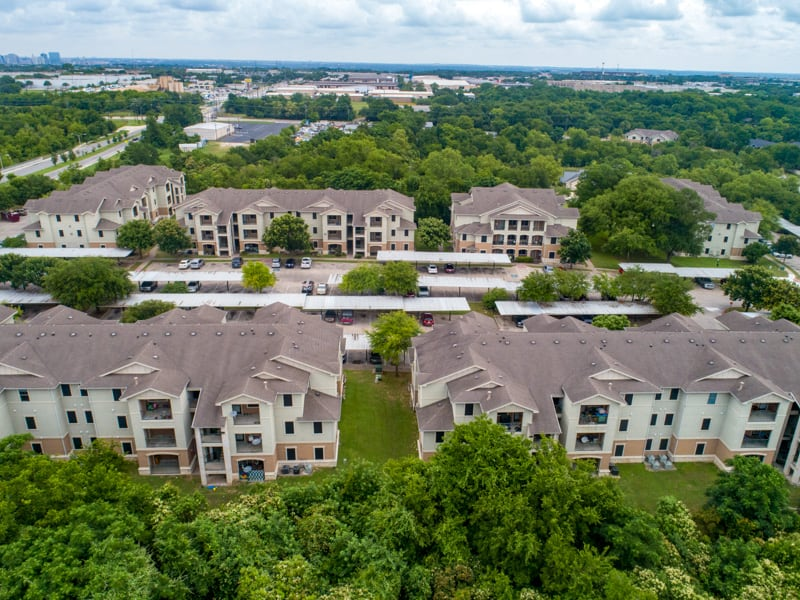 aerial drone photo of apartment buildings in Austin, Texas