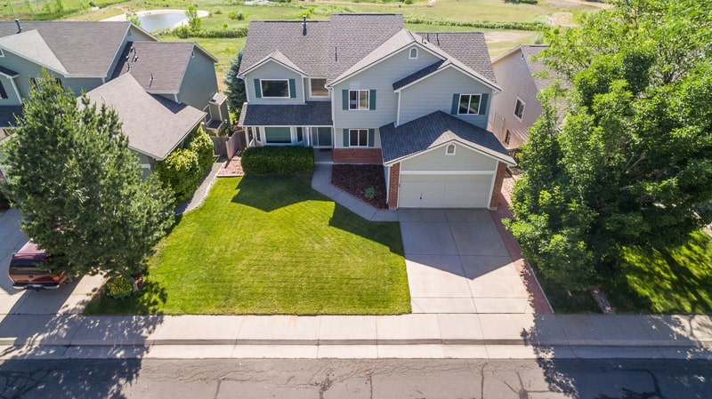 residential real estate aerial drone photo of neighborhood in Aurora Colorado