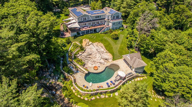 aerial drone photo of house in Manchester by the Sea, Massachusetts