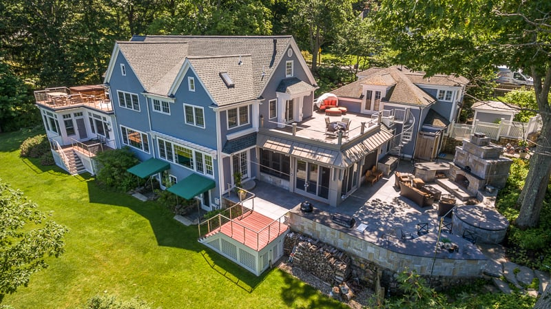 drone aerial real estate photo of house in Manchester by the Sea, Massachusetts