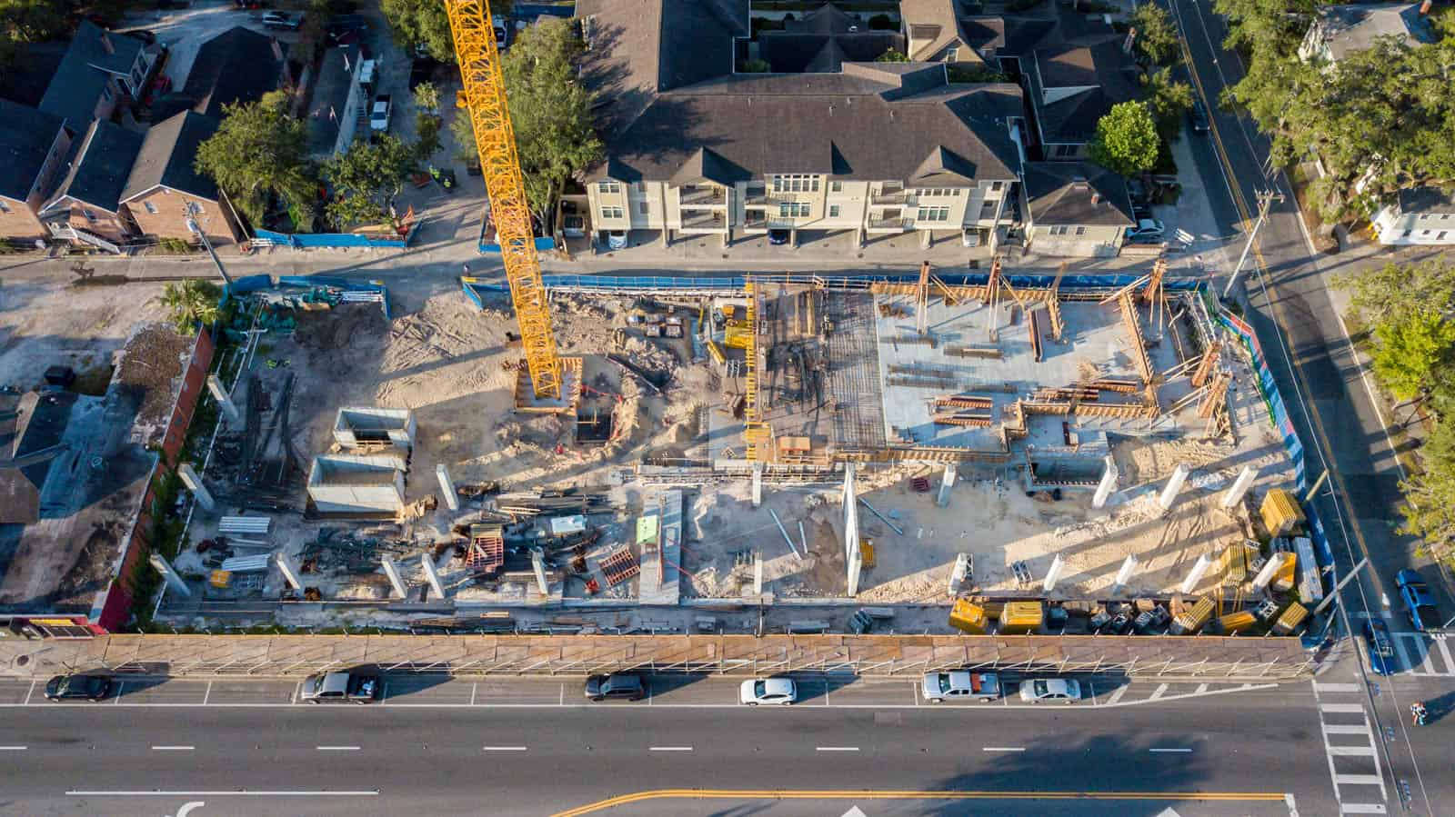 aerial drone photo of construction site in Gainesville, FL
