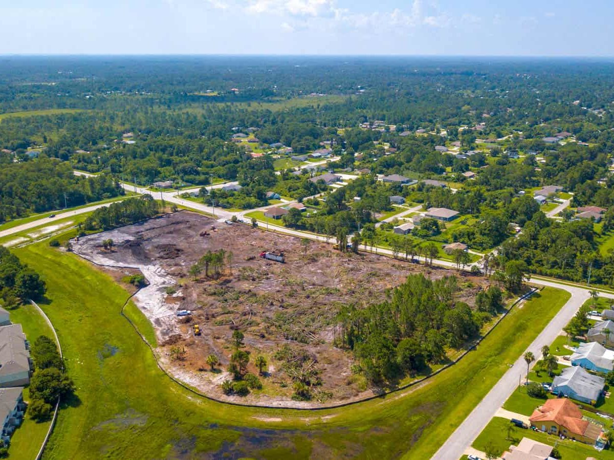 aerial drone photo of construction project in Palm Bay, Florida
