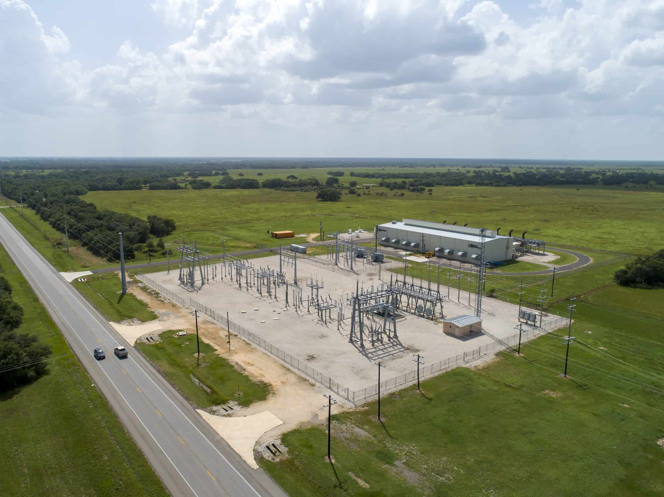 aerial drone photo of power facility located in Rock Island, Texas