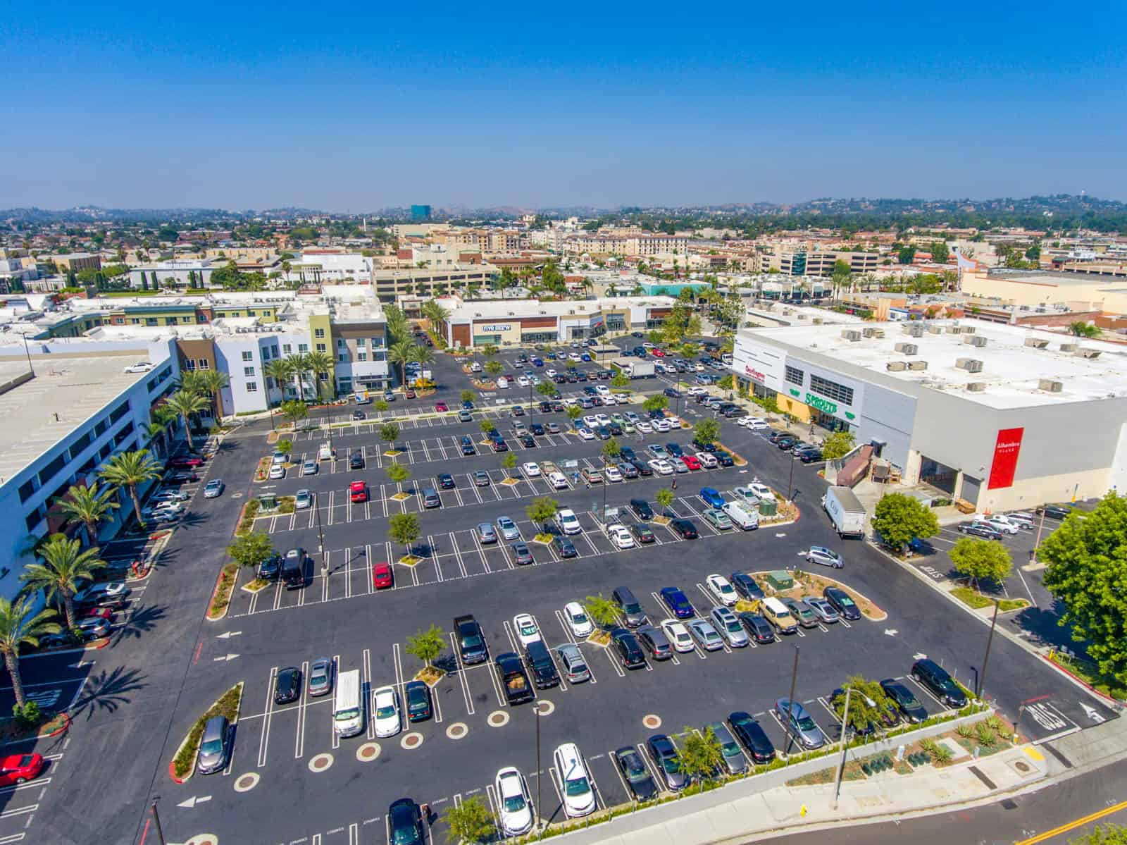 aerial drone photo of shopping plaza in California