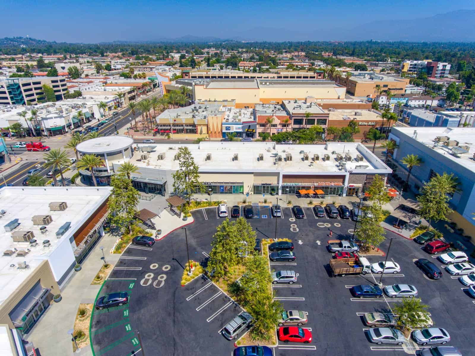 drone photo of commercial real estate shopping plaza in Alhambra, California