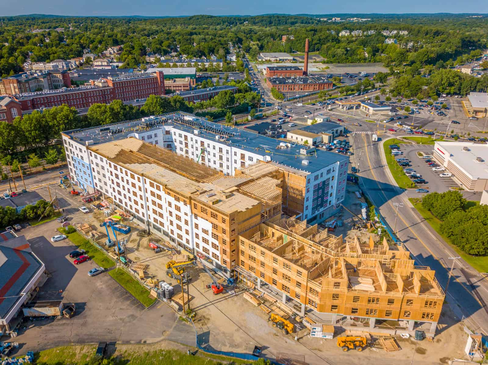 aerial drone photo of construction site