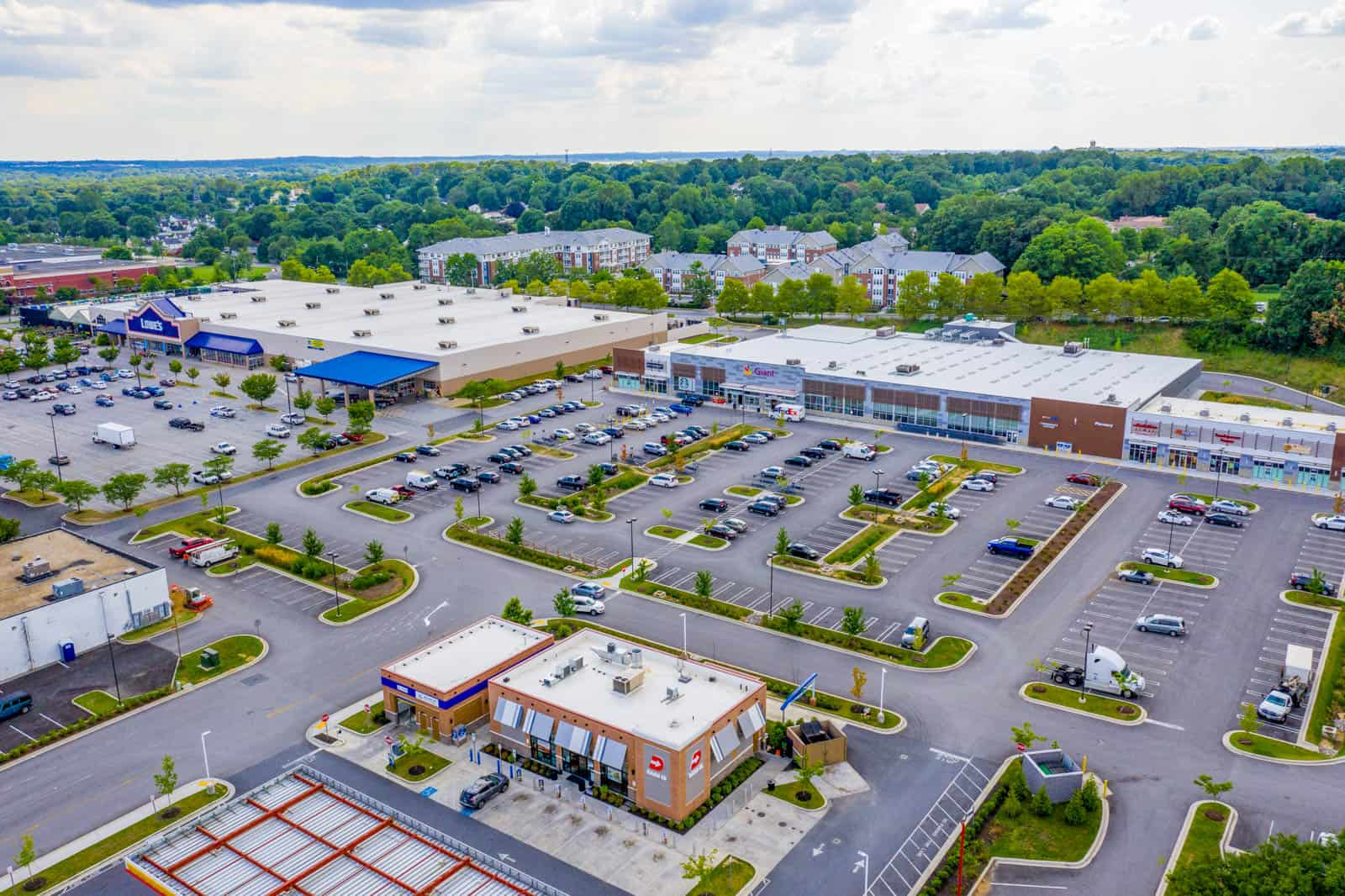 aerial drone photo of shopping plaza in Baltimore, Maryland
