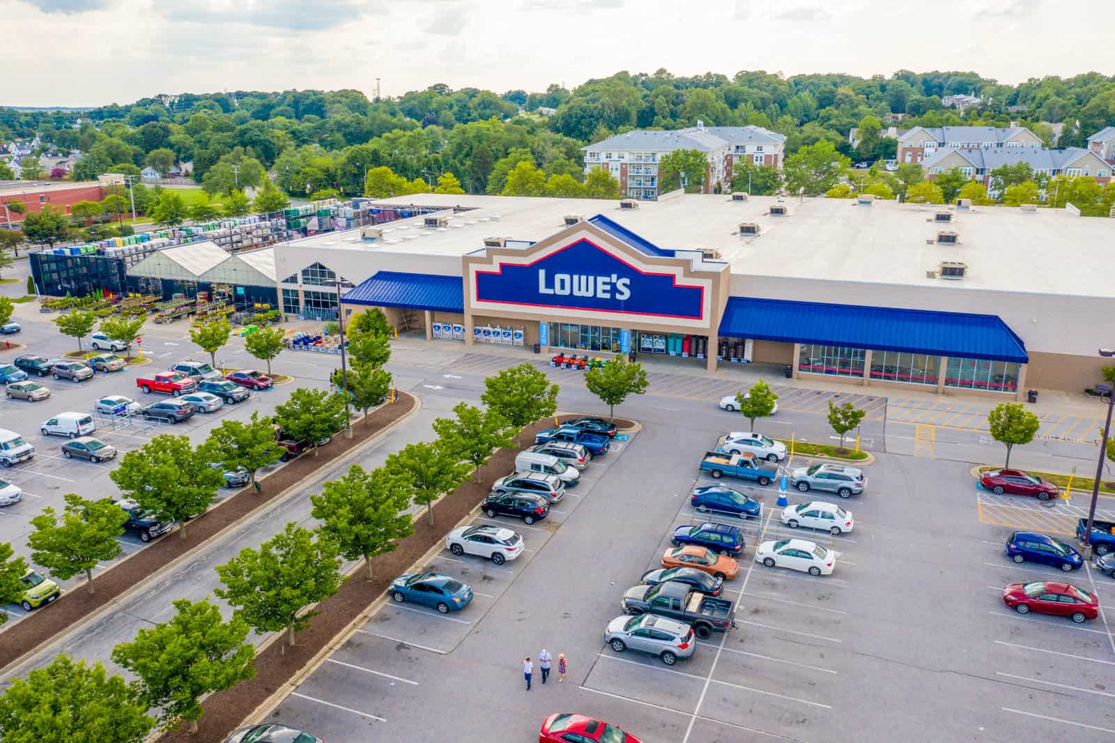 low altitude aerial drone photo of Lowe's store in shopping plaza in Baltimore, Maryland