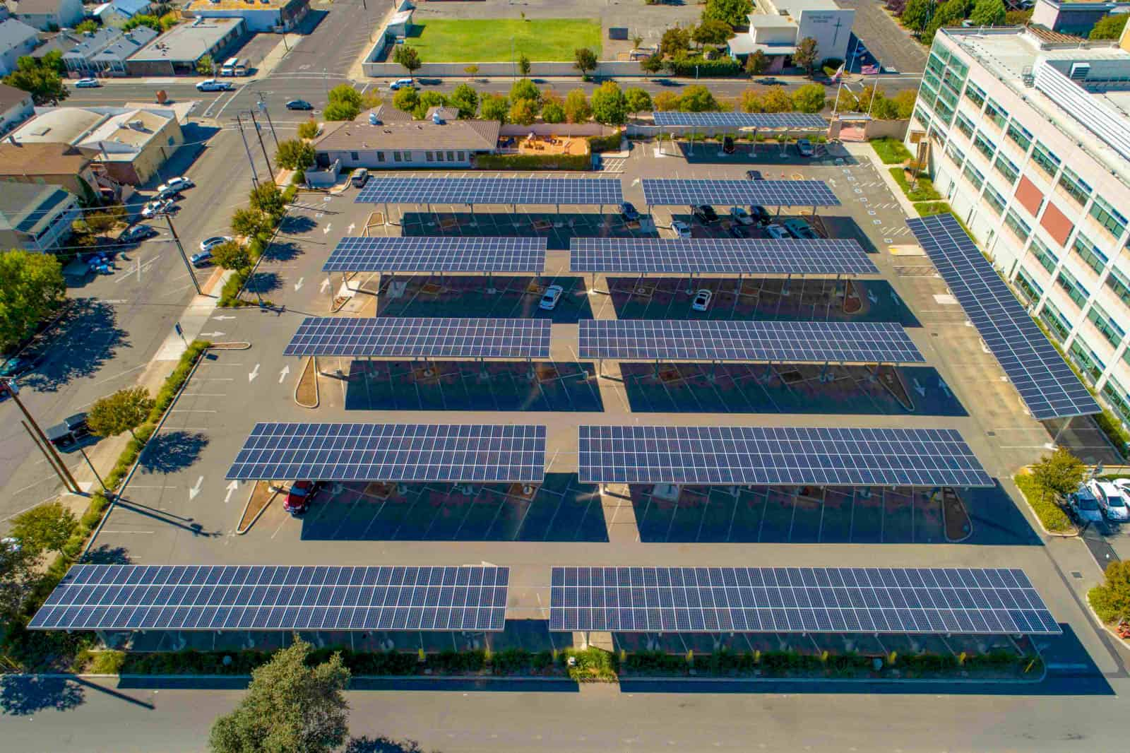 aerial drone photo of solar panel array shading parking spots in Marysville, California