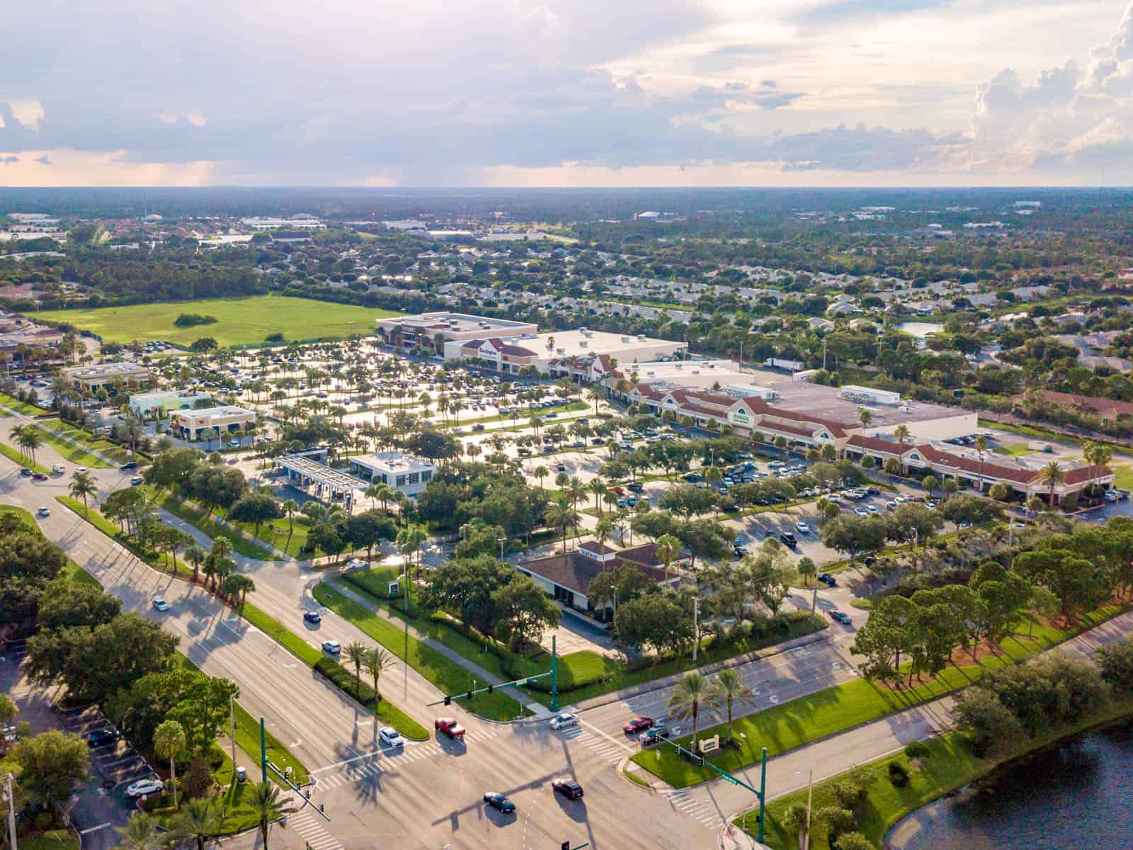 aerial drone photo of strip mall in Port St. Lucie, Florida