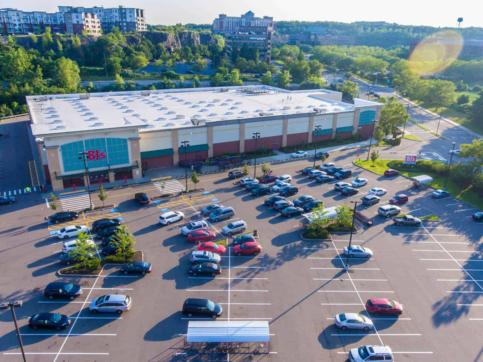 aerial drone photo of BJ's shopping center in Massachusetts