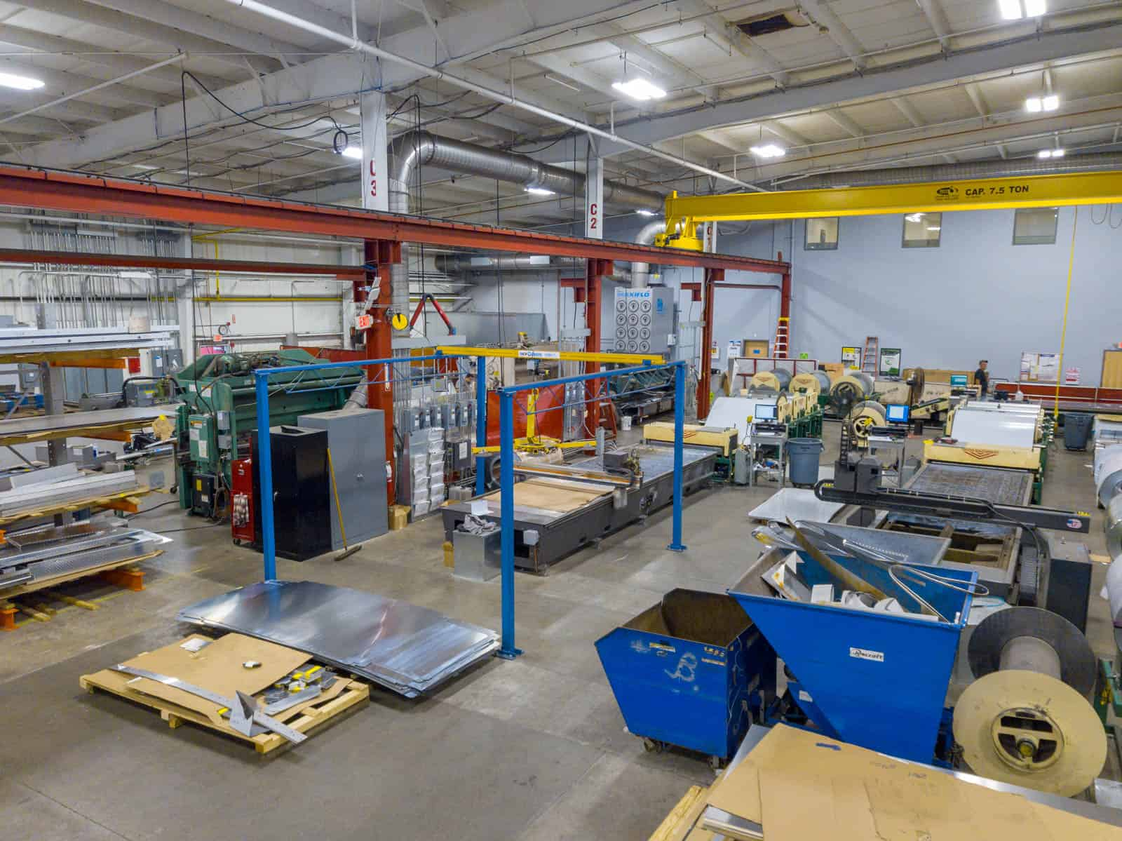 interior drone photo of HVAC manufacturing shop inside building in Randolph, Massachusetts