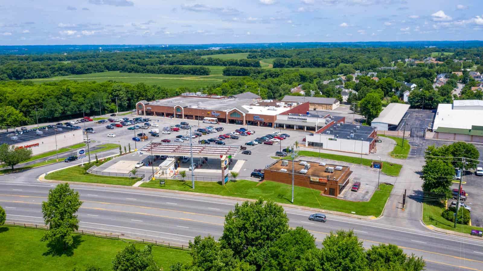 aerial drone photo of commercial real estate shopping center in Hermitage, TN