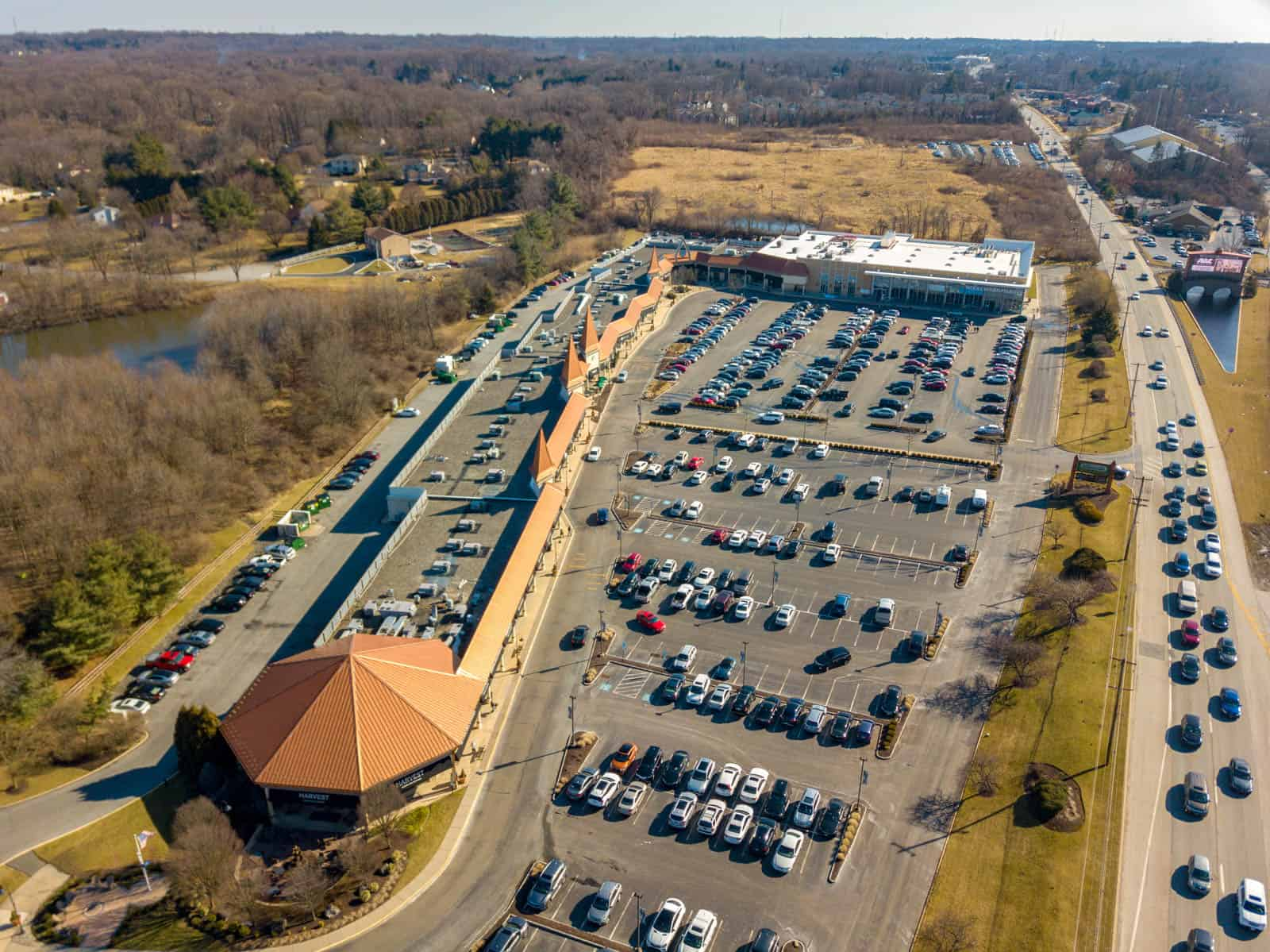 aerial drone photo of strip mall in Glen Mills, Pennsylvania