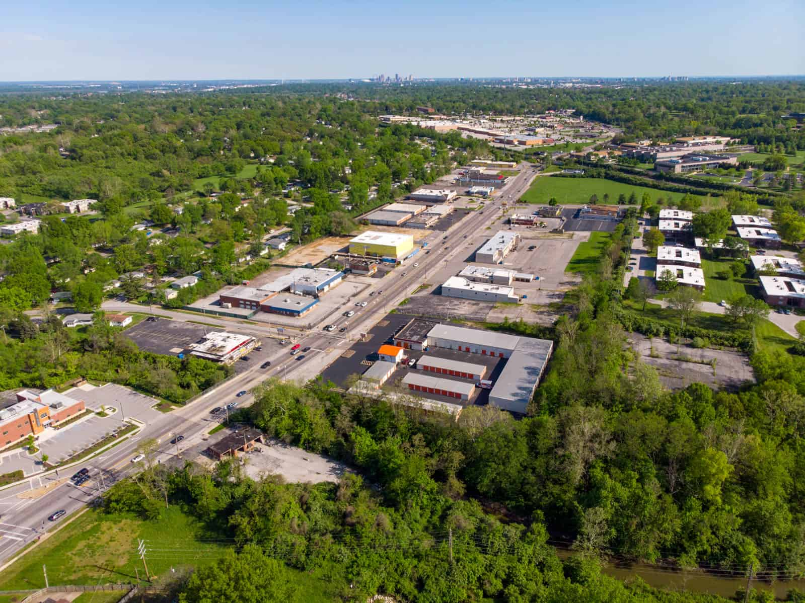 aerial drone photo of storage units in St. Louis, Missouri