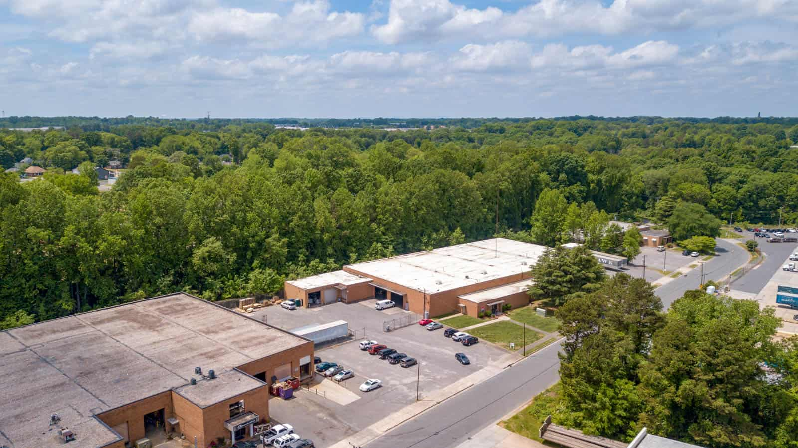 drone photo of commercial facility outside of Charlotte, North Carolina
