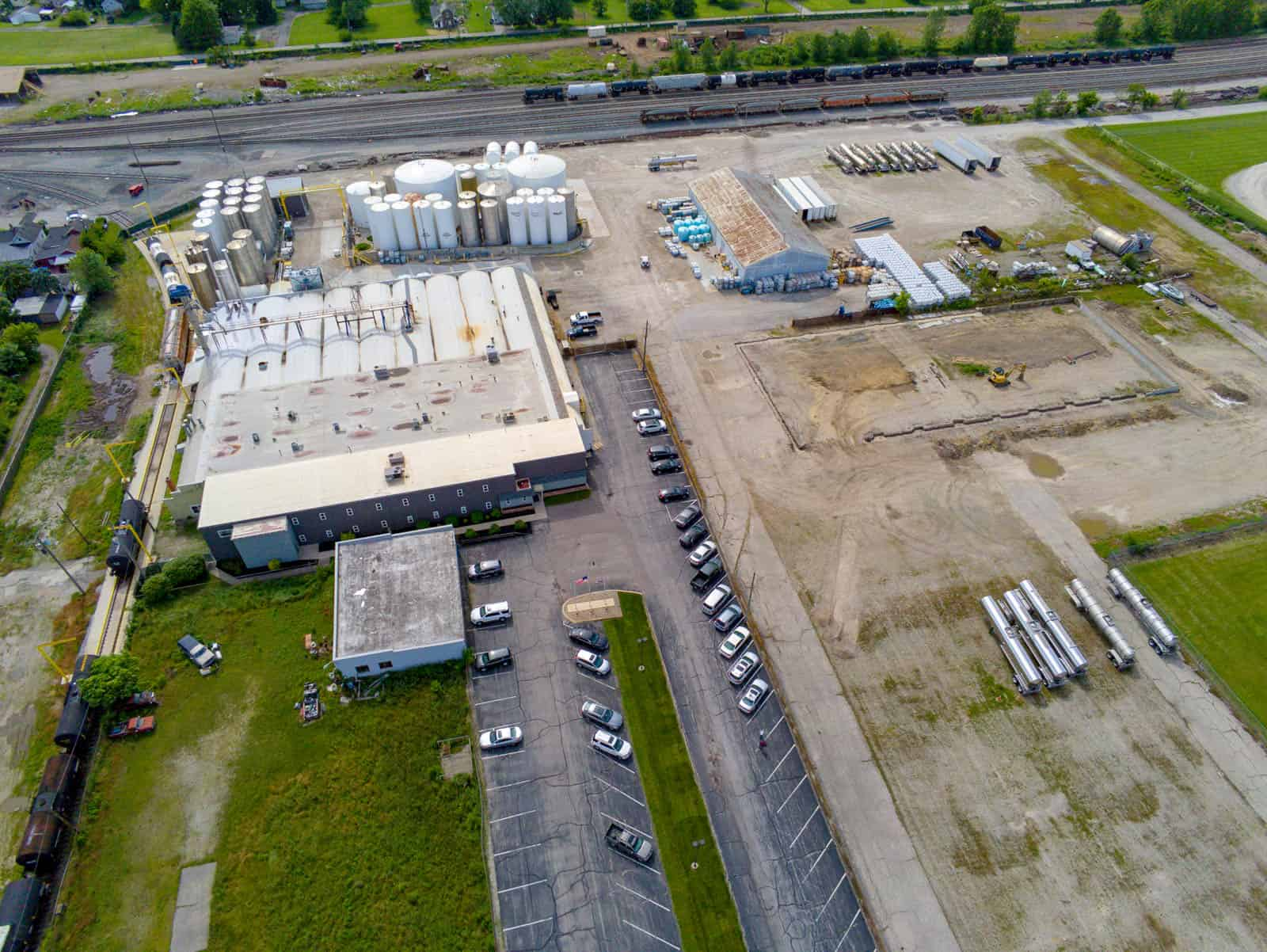 aerial drone photo of manufacturing facility in Marion, OH