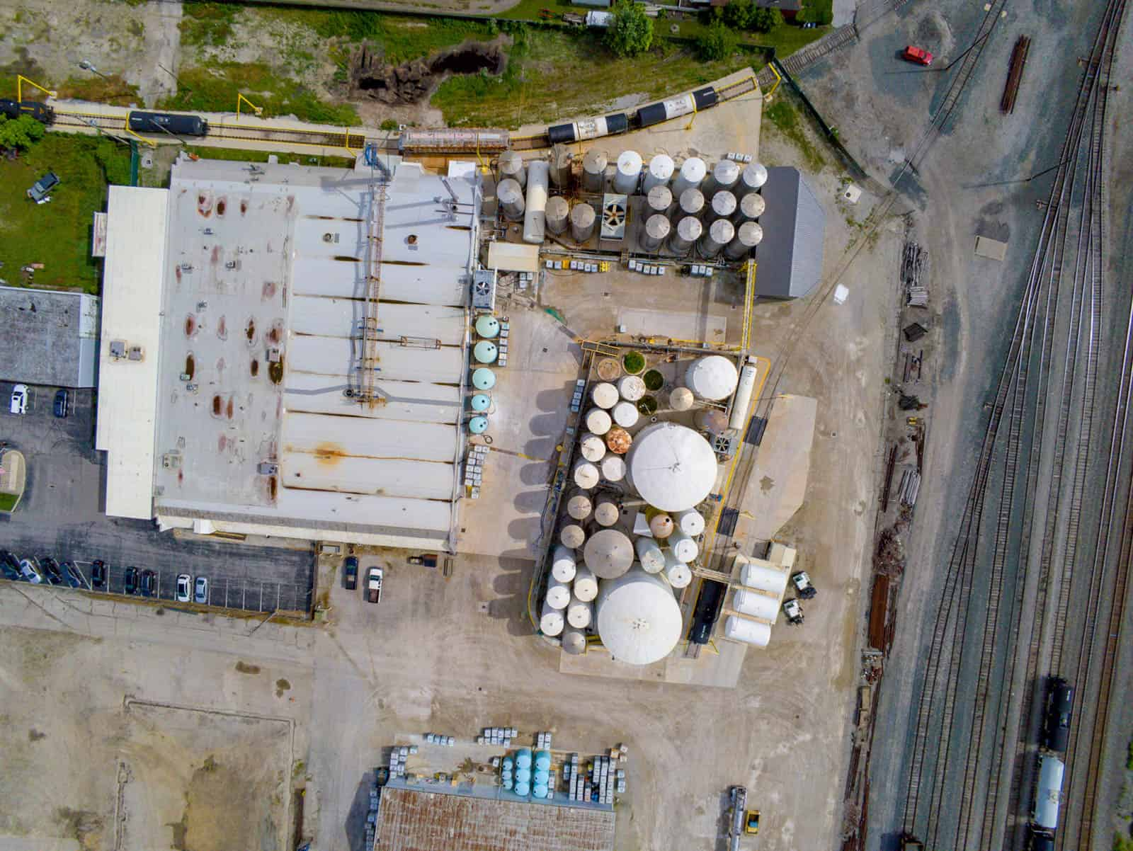 drone inspection photo of building