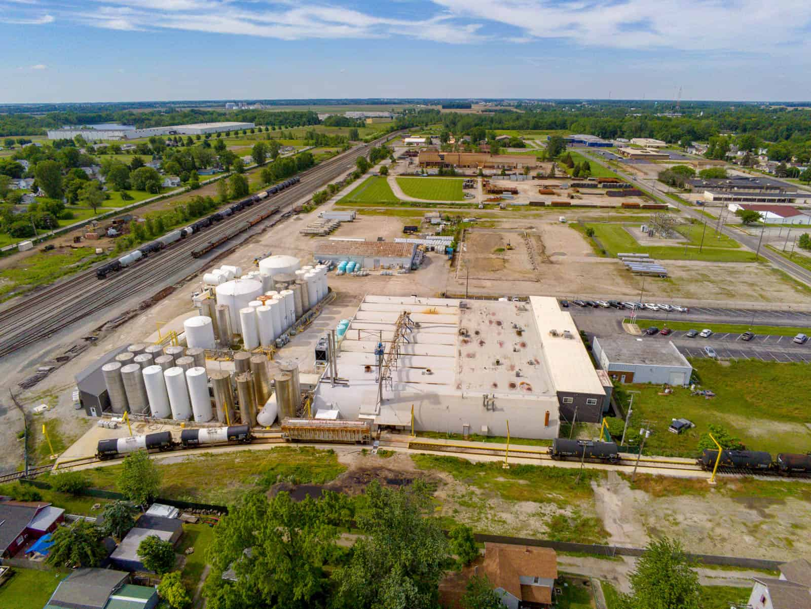 aerial drone photo of manufacturing plant in Marion, Ohio