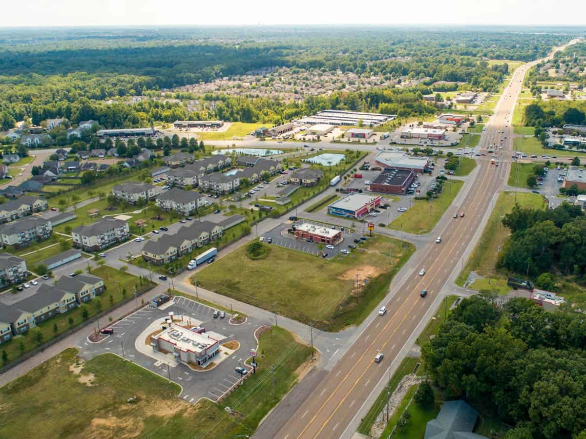 aerial drone photo of commercial property in Arlington, Tennessee